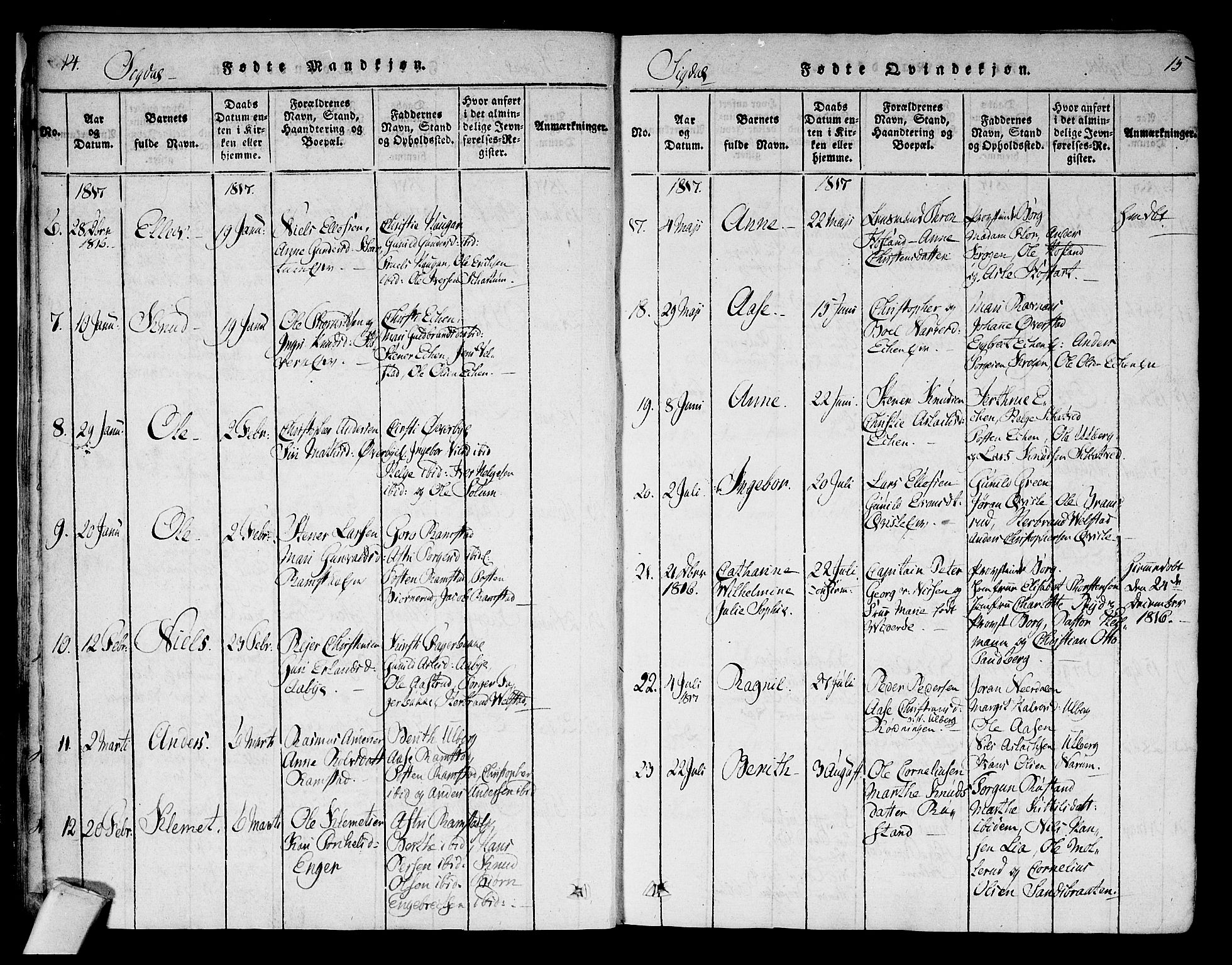 SAKO, Sigdal kirkebøker, F/Fa/L0005: Ministerialbok nr. I 5 /1, 1815-1829, s. 14-15
