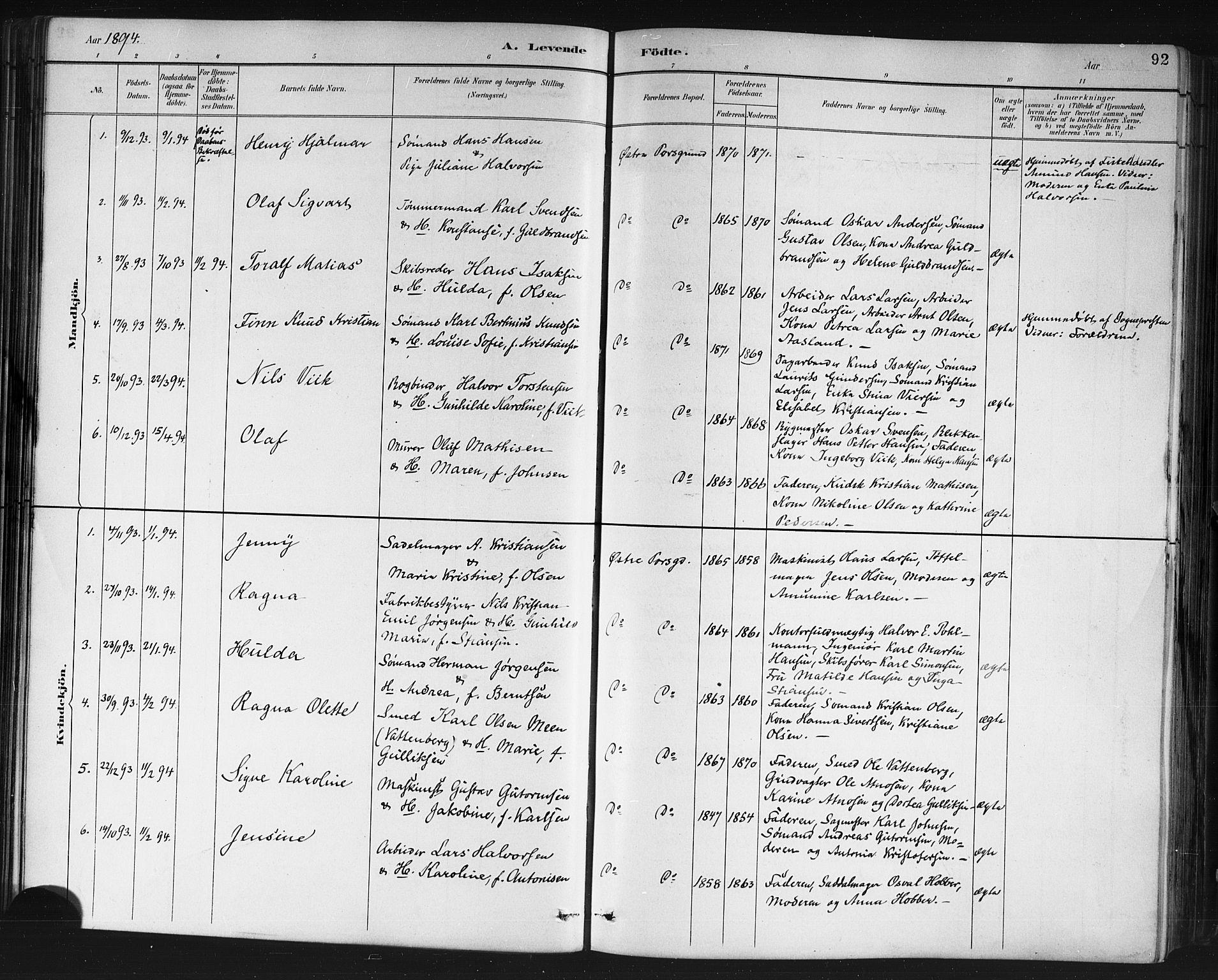 SAKO, Porsgrunn kirkebøker , G/Gb/L0005: Klokkerbok nr. II 5, 1883-1915, s. 92