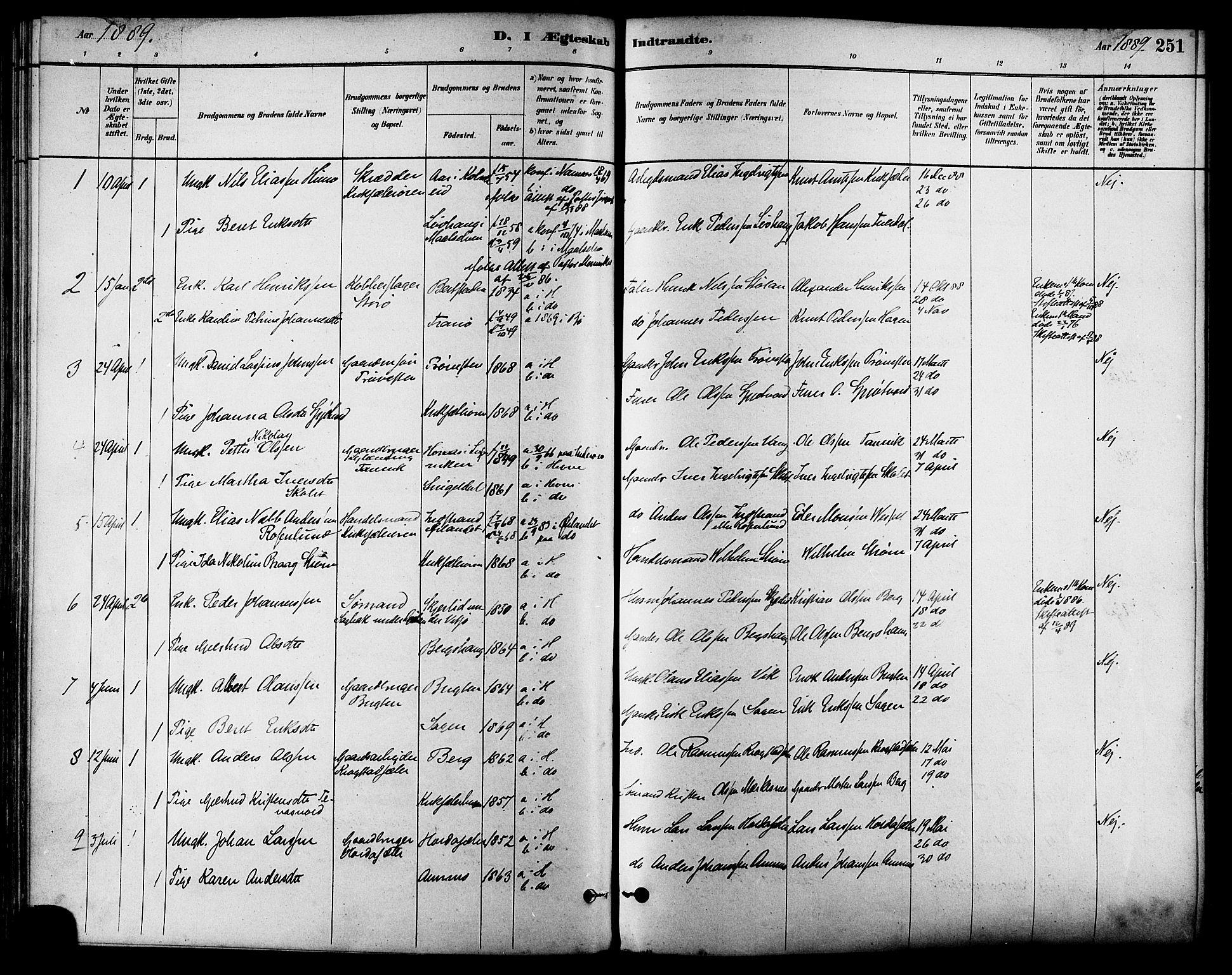SAT, Ministerialprotokoller, klokkerbøker og fødselsregistre - Sør-Trøndelag, 630/L0496: Ministerialbok nr. 630A09, 1879-1895, s. 251