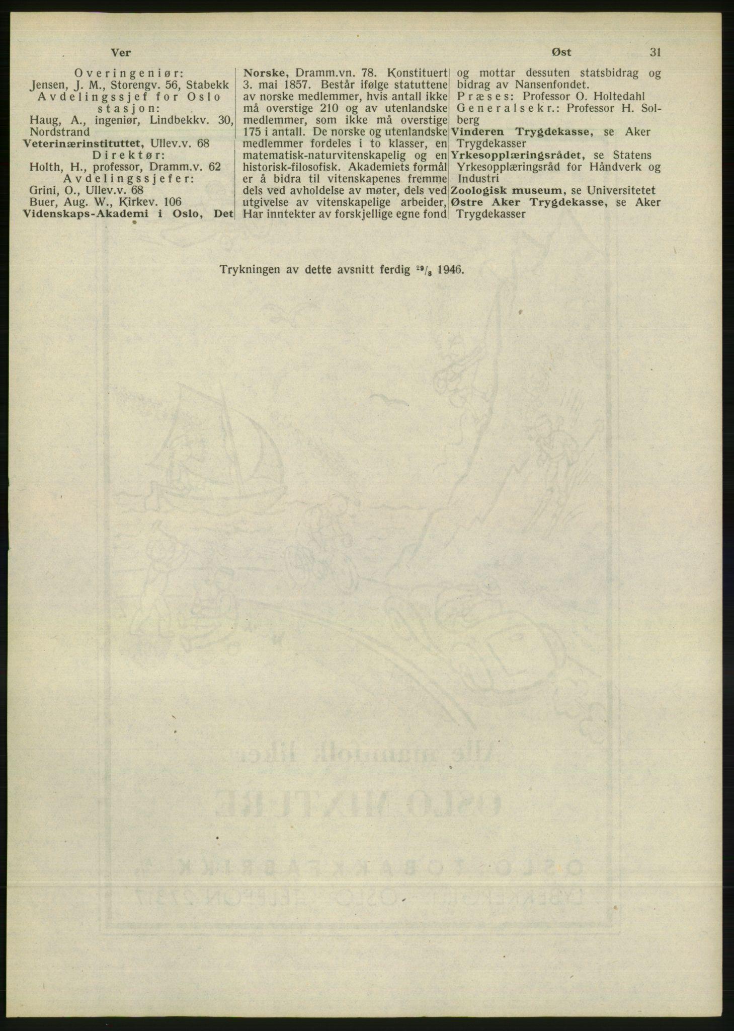 RA, Oslo adressebok (publikasjon)*, 1946, s. 31