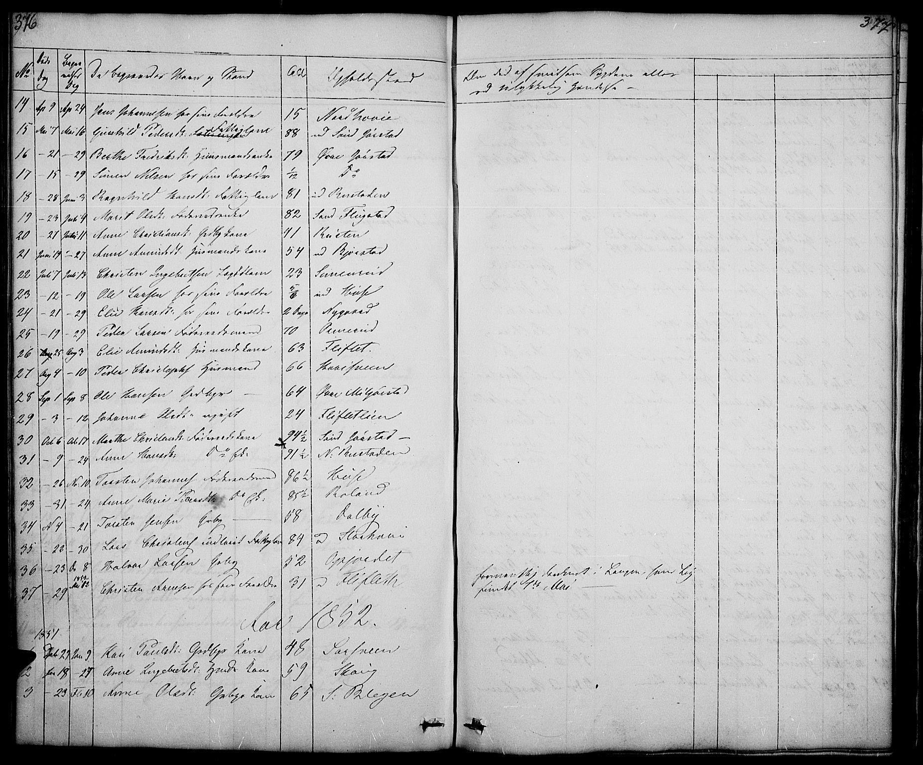 SAH, Fåberg prestekontor, Klokkerbok nr. 5, 1837-1864, s. 376-377