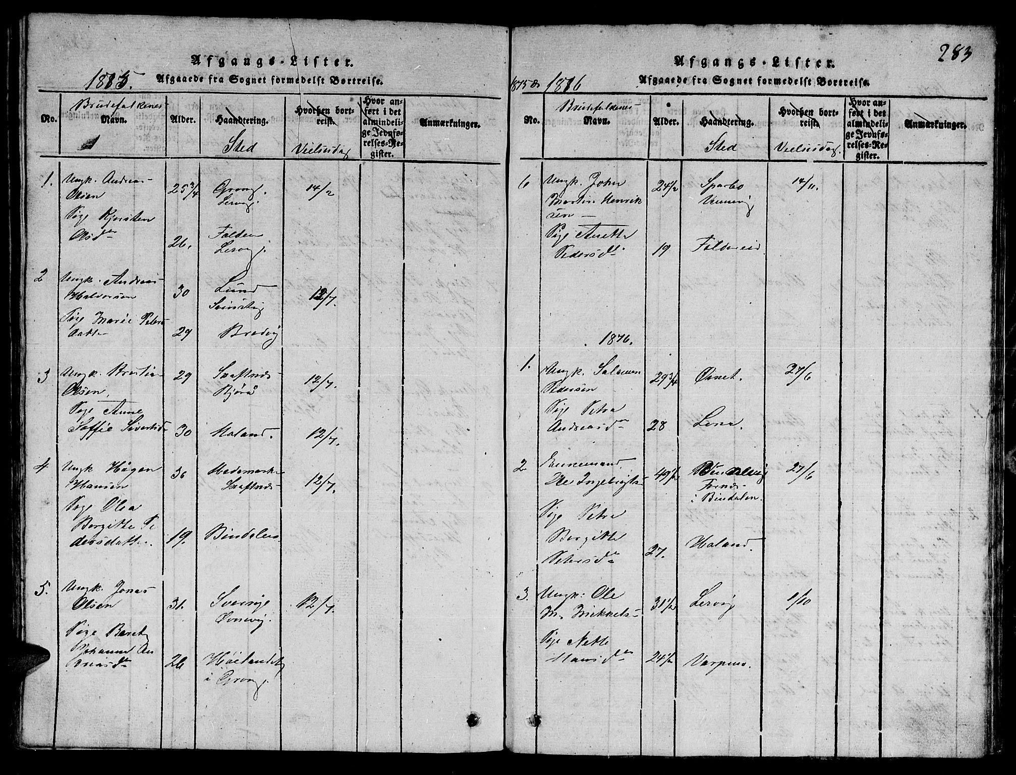 SAT, Ministerialprotokoller, klokkerbøker og fødselsregistre - Nord-Trøndelag, 780/L0648: Klokkerbok nr. 780C01 /3, 1815-1877, s. 283