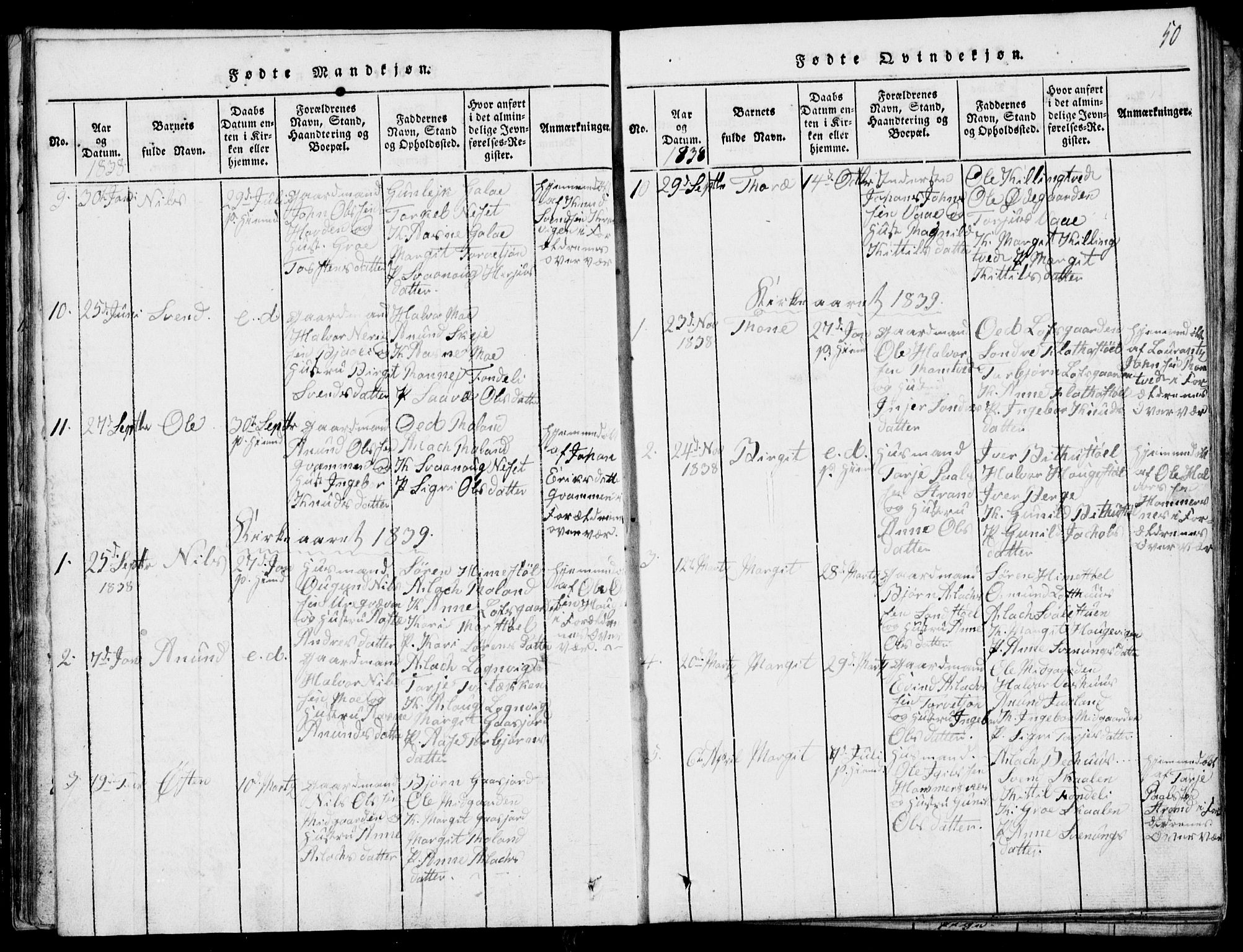 SAKO, Rauland kirkebøker, G/Ga/L0001: Klokkerbok nr. I 1, 1814-1843, s. 50