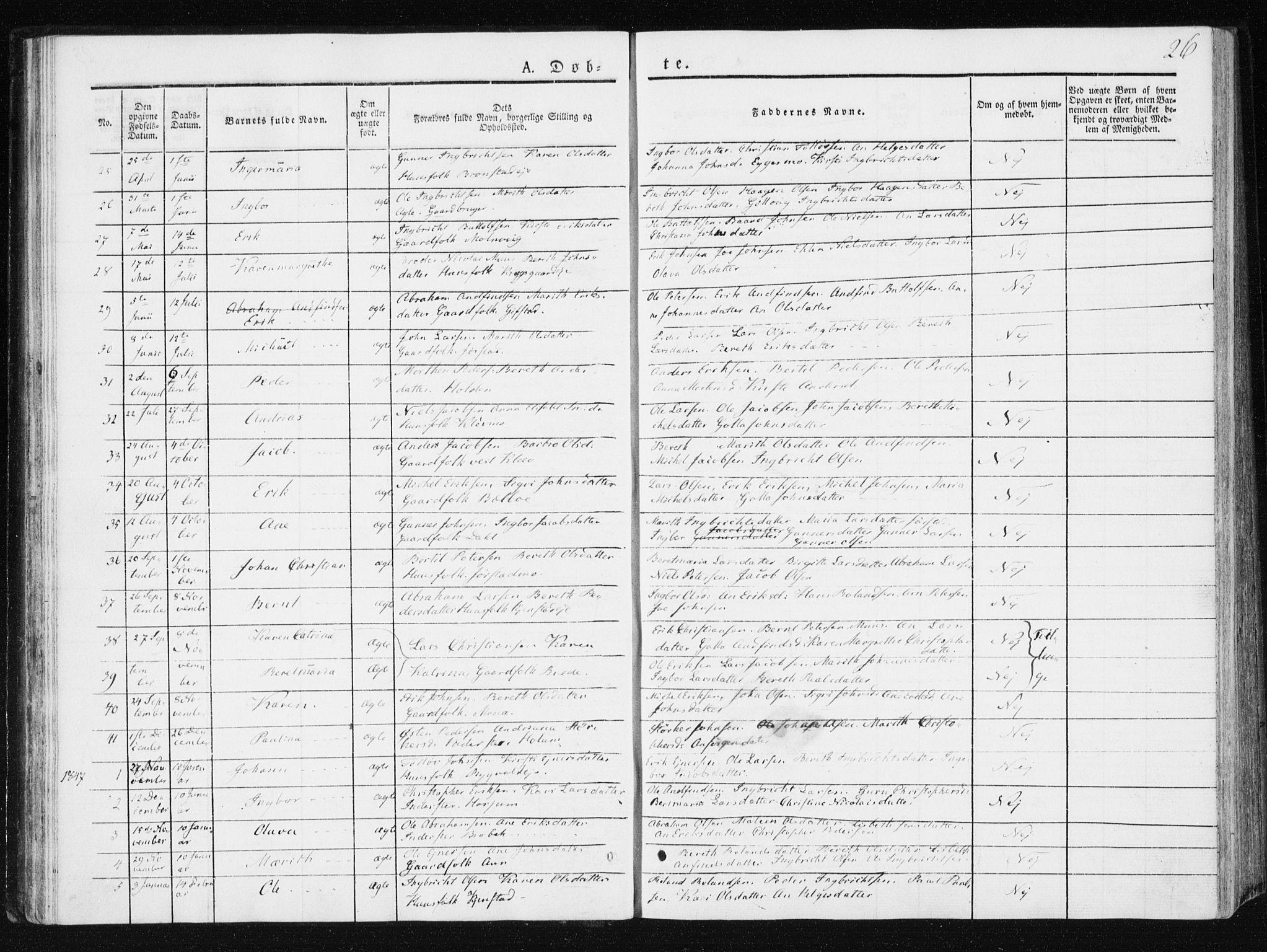 SAT, Ministerialprotokoller, klokkerbøker og fødselsregistre - Nord-Trøndelag, 749/L0470: Ministerialbok nr. 749A04, 1834-1853, s. 26