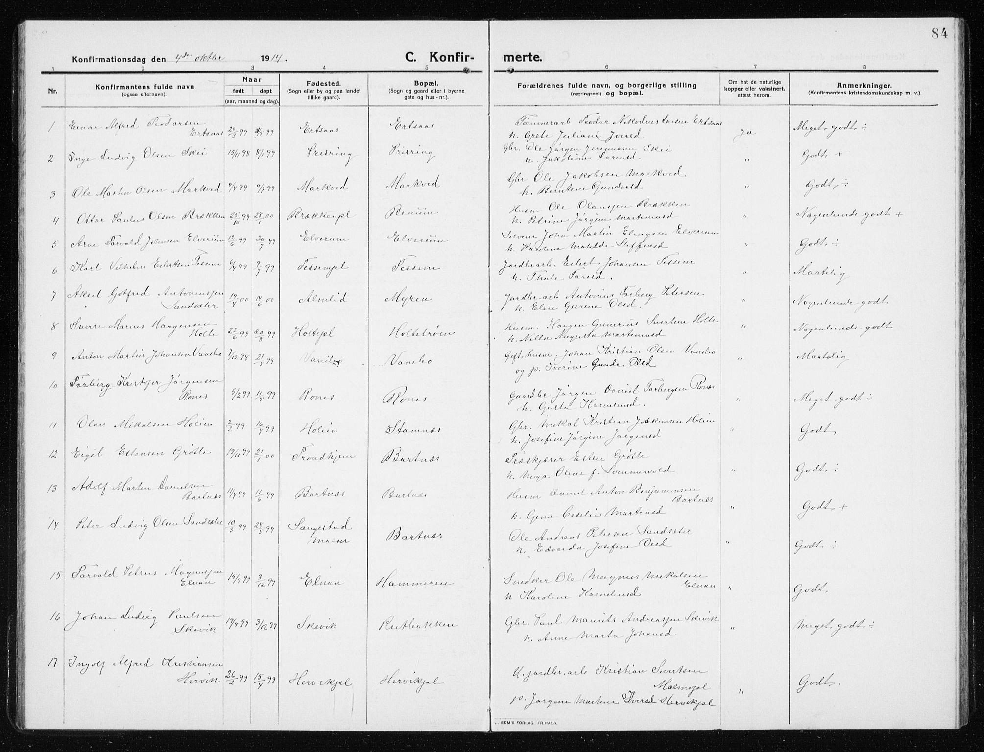 SAT, Ministerialprotokoller, klokkerbøker og fødselsregistre - Nord-Trøndelag, 741/L0402: Klokkerbok nr. 741C03, 1911-1926, s. 84