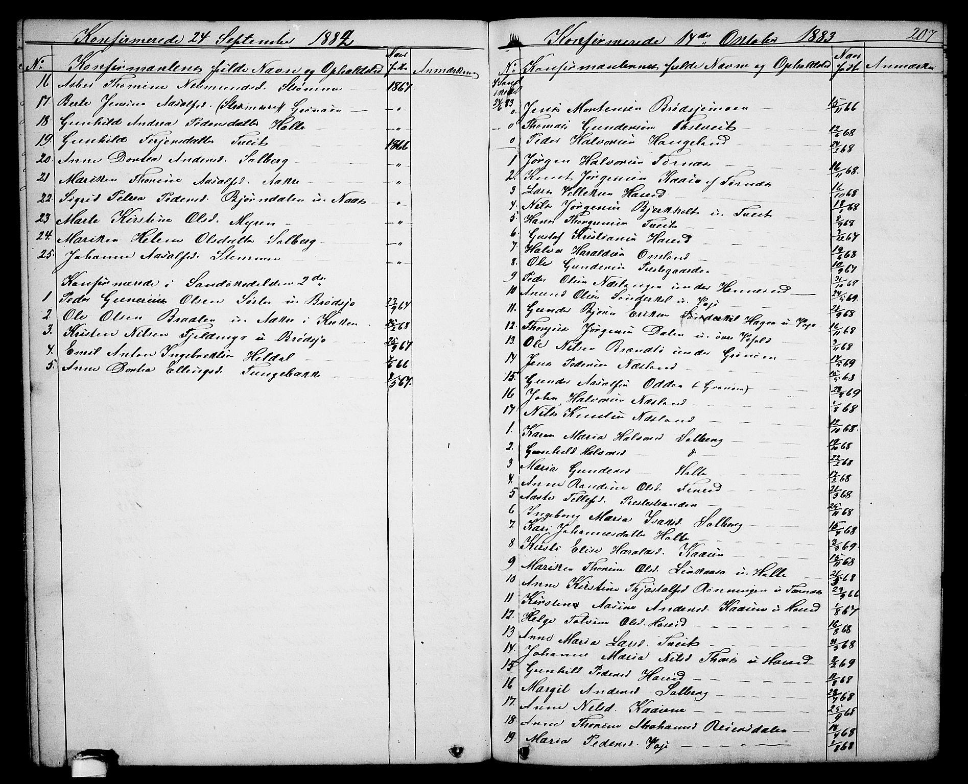 SAKO, Drangedal kirkebøker, G/Ga/L0002: Klokkerbok nr. I 2, 1856-1887, s. 207