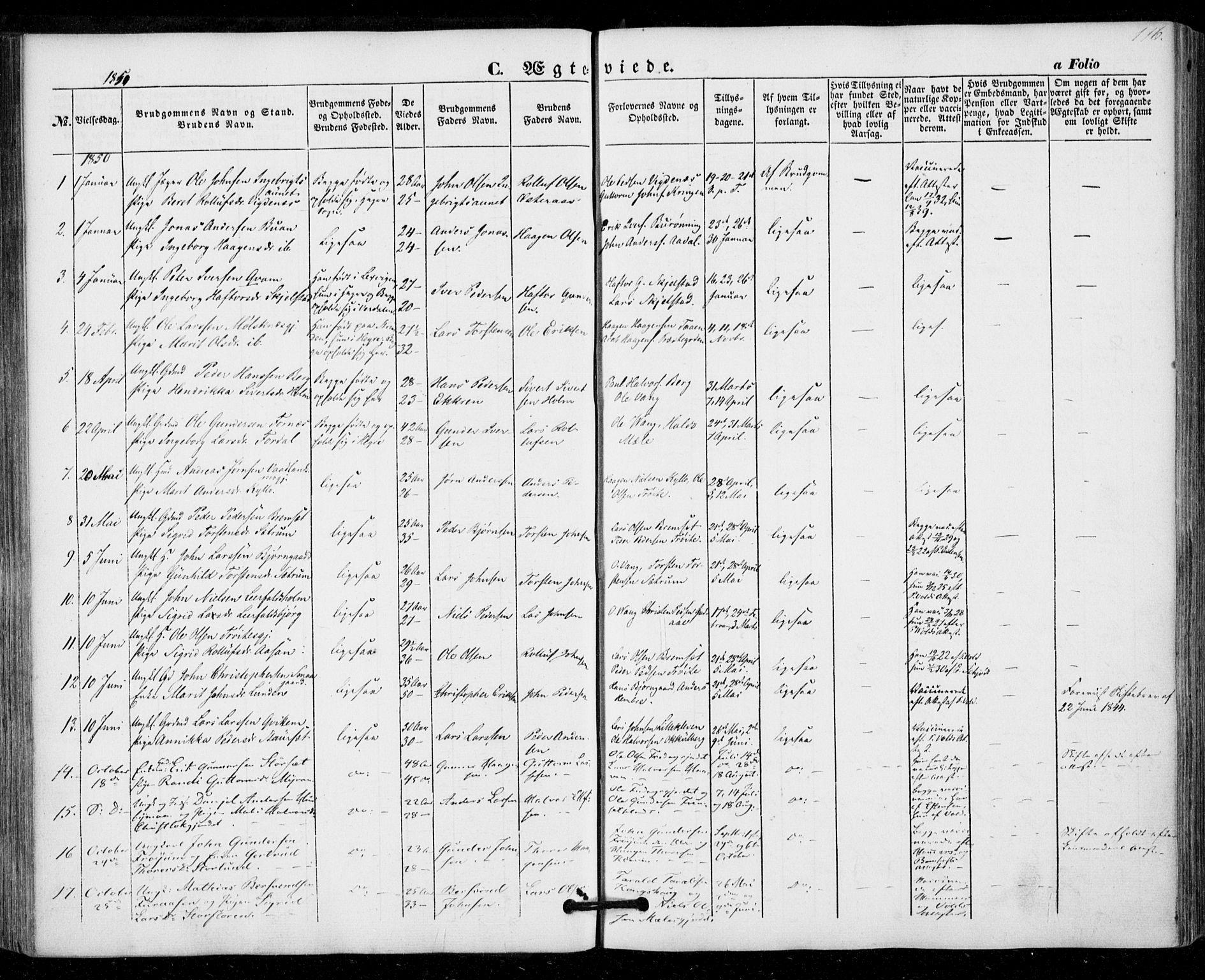 SAT, Ministerialprotokoller, klokkerbøker og fødselsregistre - Nord-Trøndelag, 703/L0028: Ministerialbok nr. 703A01, 1850-1862, s. 116