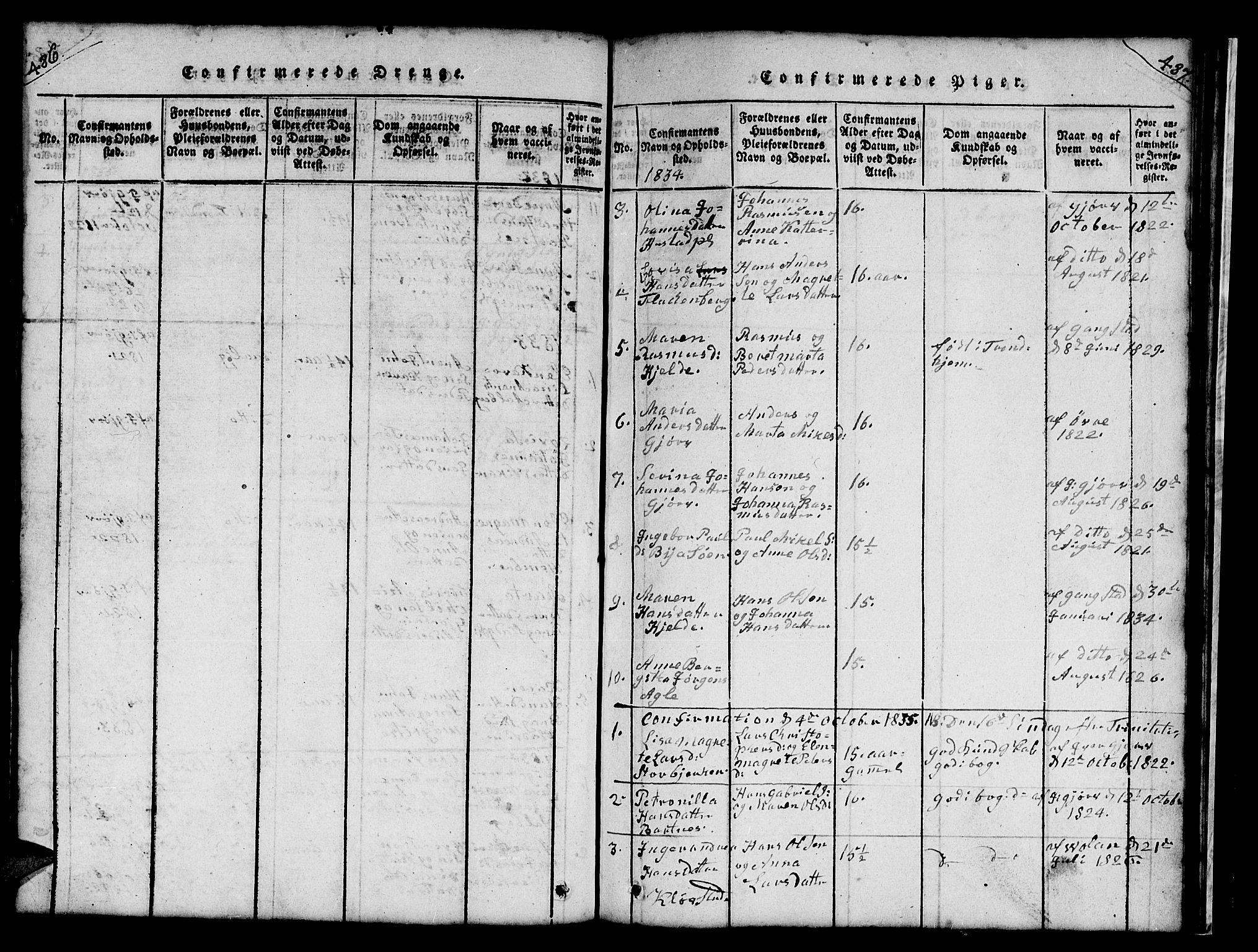 SAT, Ministerialprotokoller, klokkerbøker og fødselsregistre - Nord-Trøndelag, 732/L0317: Klokkerbok nr. 732C01, 1816-1881, s. 486-487