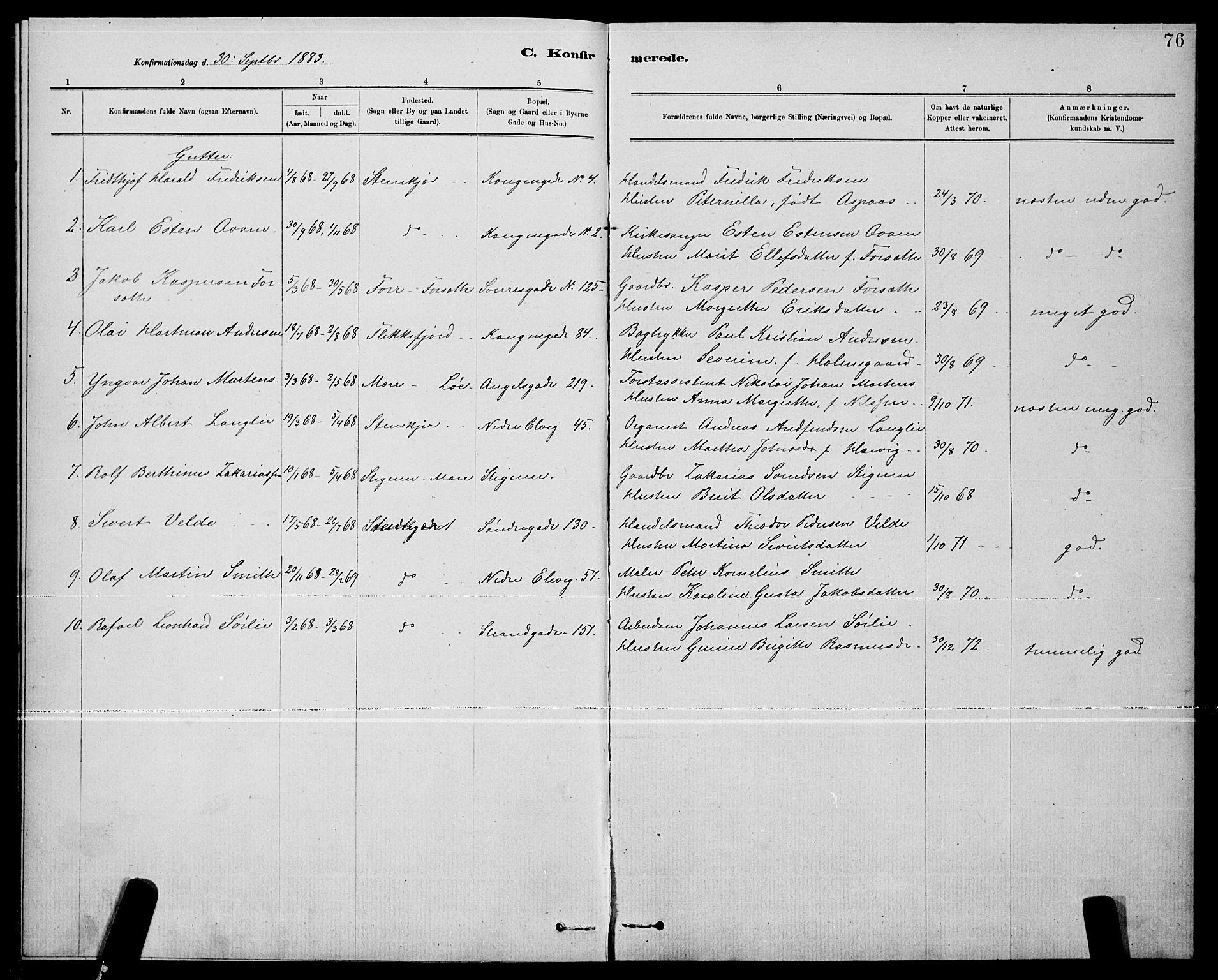 SAT, Ministerialprotokoller, klokkerbøker og fødselsregistre - Nord-Trøndelag, 739/L0374: Klokkerbok nr. 739C02, 1883-1898, s. 76