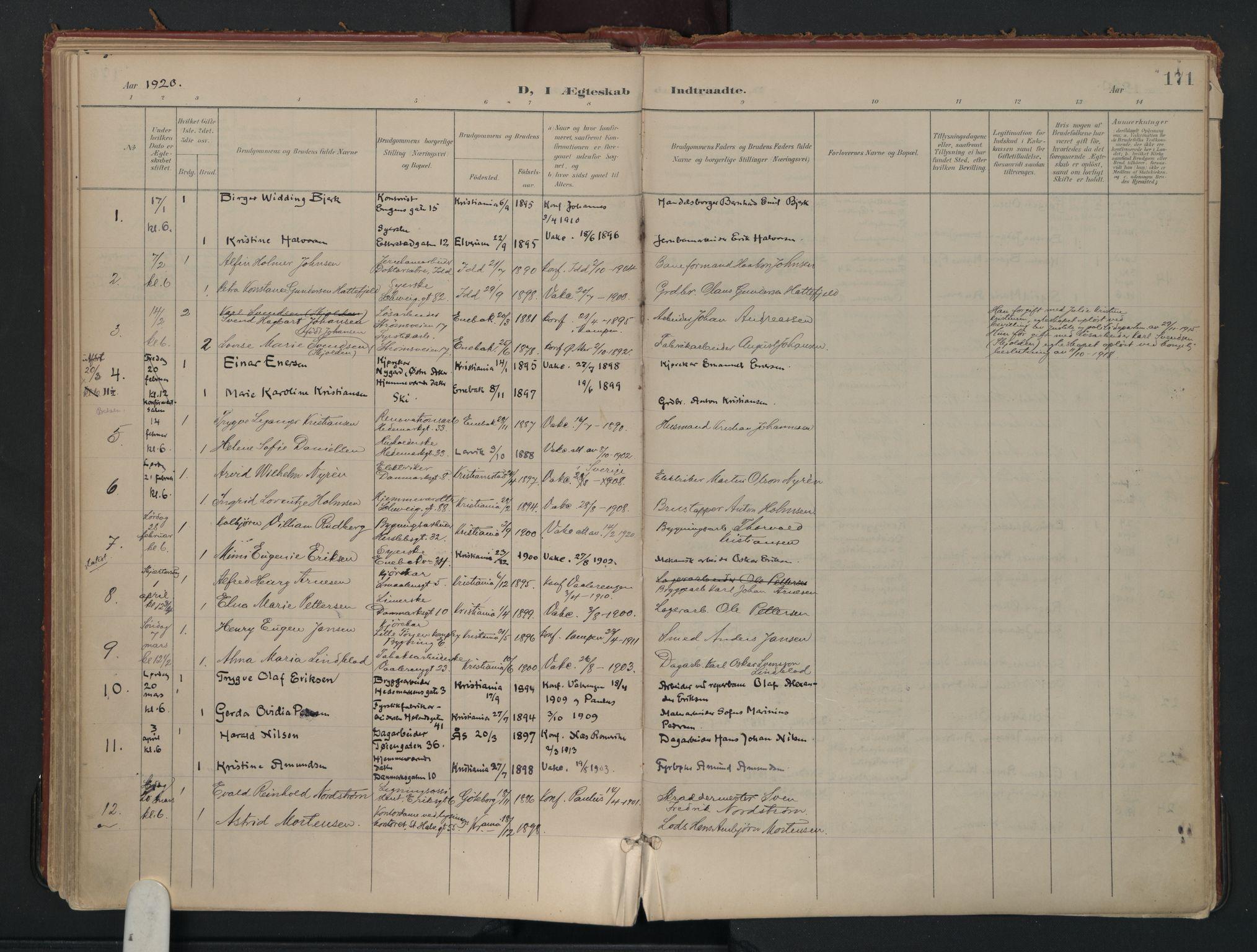 SAO, Vålerengen prestekontor Kirkebøker, F/Fa/L0002: Ministerialbok nr. 2, 1899-1924, s. 171