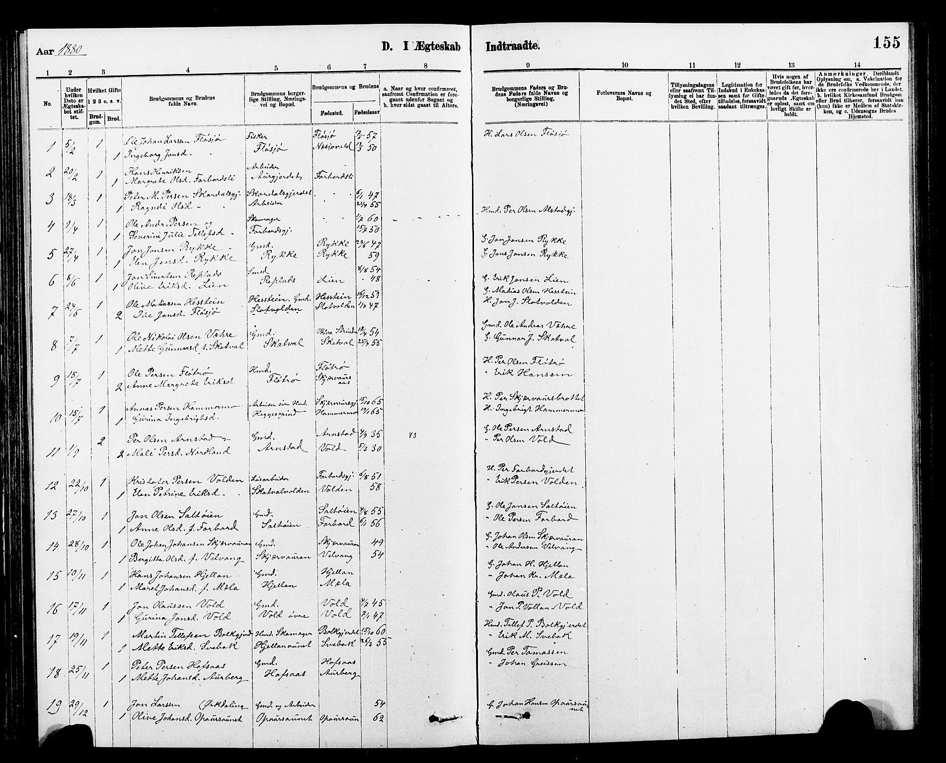SAT, Ministerialprotokoller, klokkerbøker og fødselsregistre - Nord-Trøndelag, 712/L0103: Klokkerbok nr. 712C01, 1878-1917, s. 155