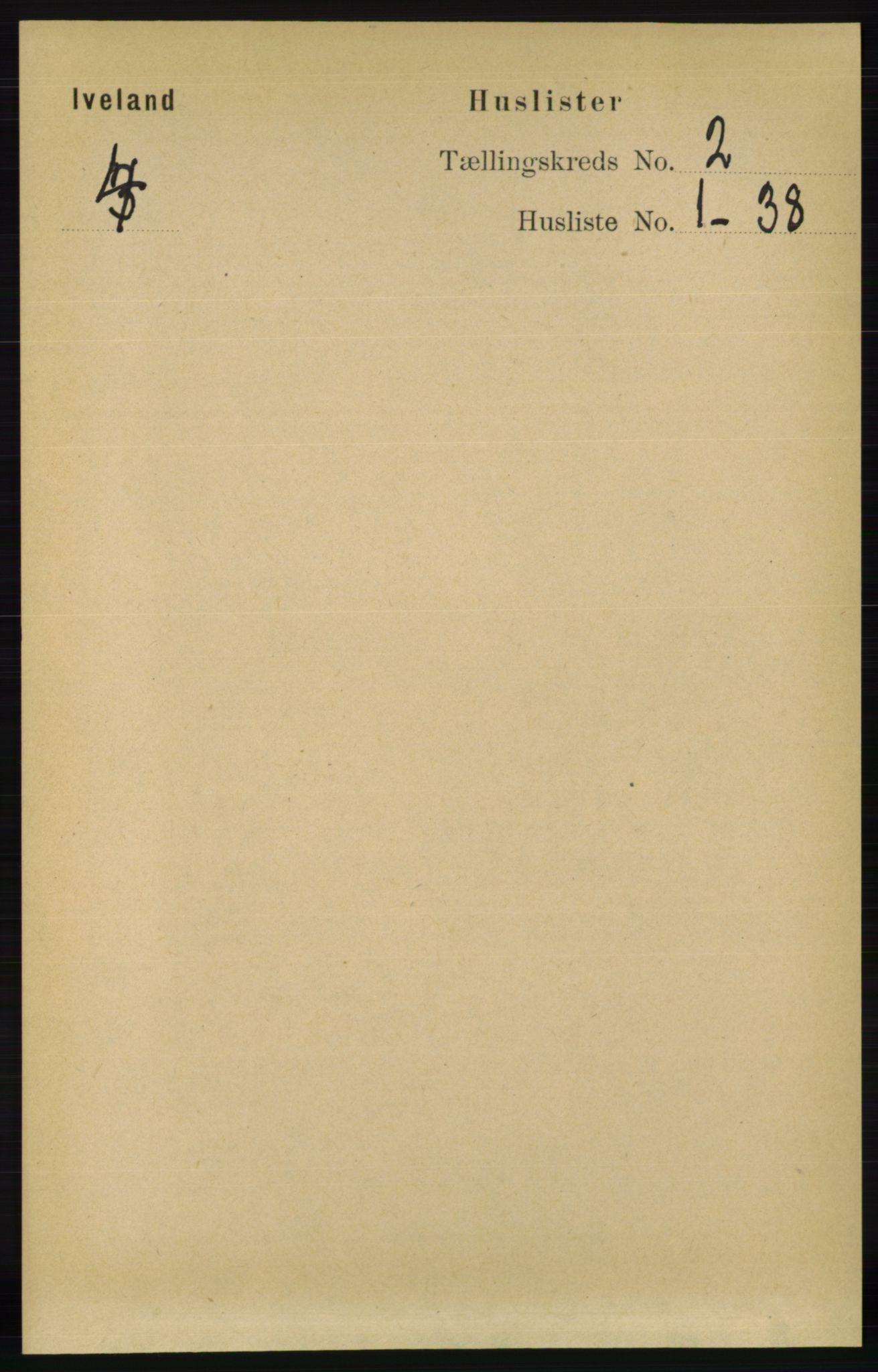 RA, Folketelling 1891 for 0935 Iveland herred, 1891, s. 365