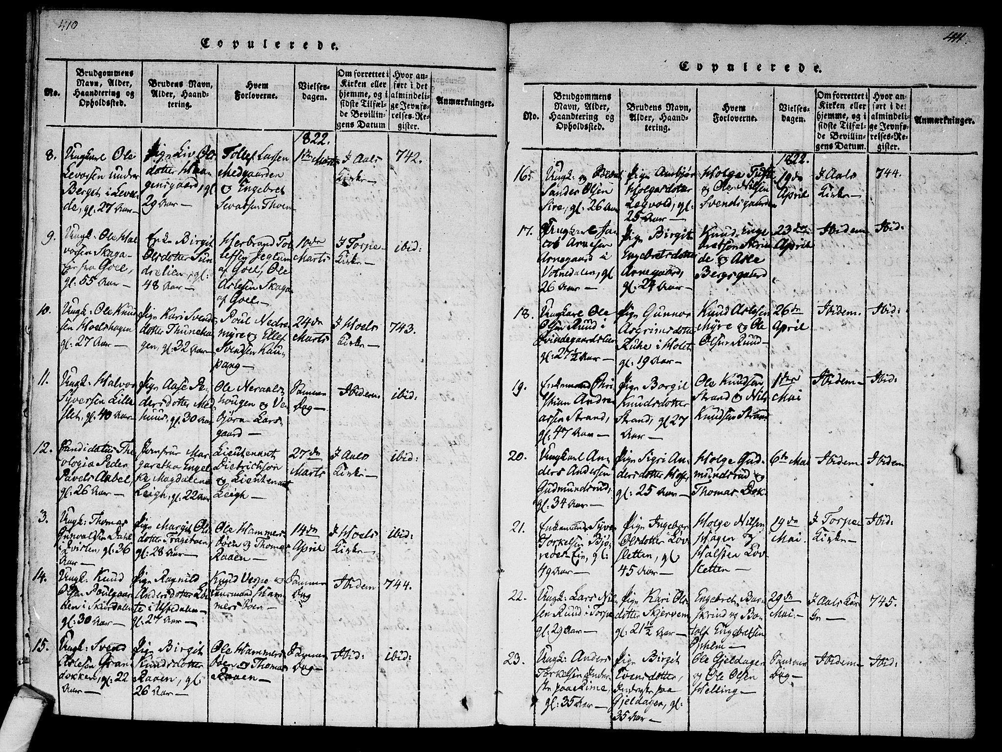 SAKO, Ål kirkebøker, F/Fa/L0004: Ministerialbok nr. I 4, 1815-1825, s. 410-411