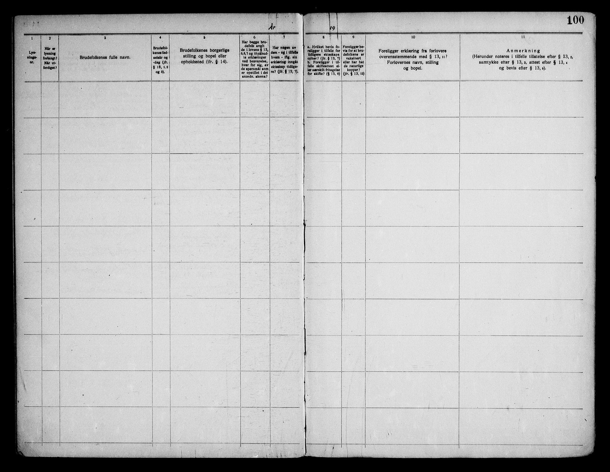 SAKO, Gjerpen kirkebøker, H/Hb/L0001: Lysningsprotokoll nr. II 1, 1920-1950, s. 100