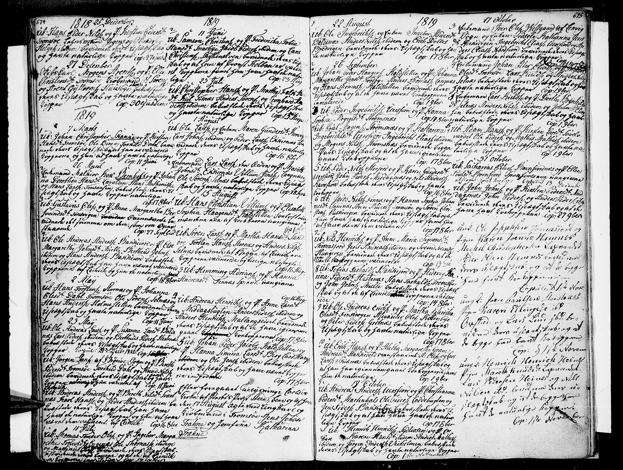 SATØ, Tromsø sokneprestkontor/stiftsprosti/domprosti, G/Ga/L0006kirke: Ministerialbok nr. 6, 1806-1821, s. 674-675