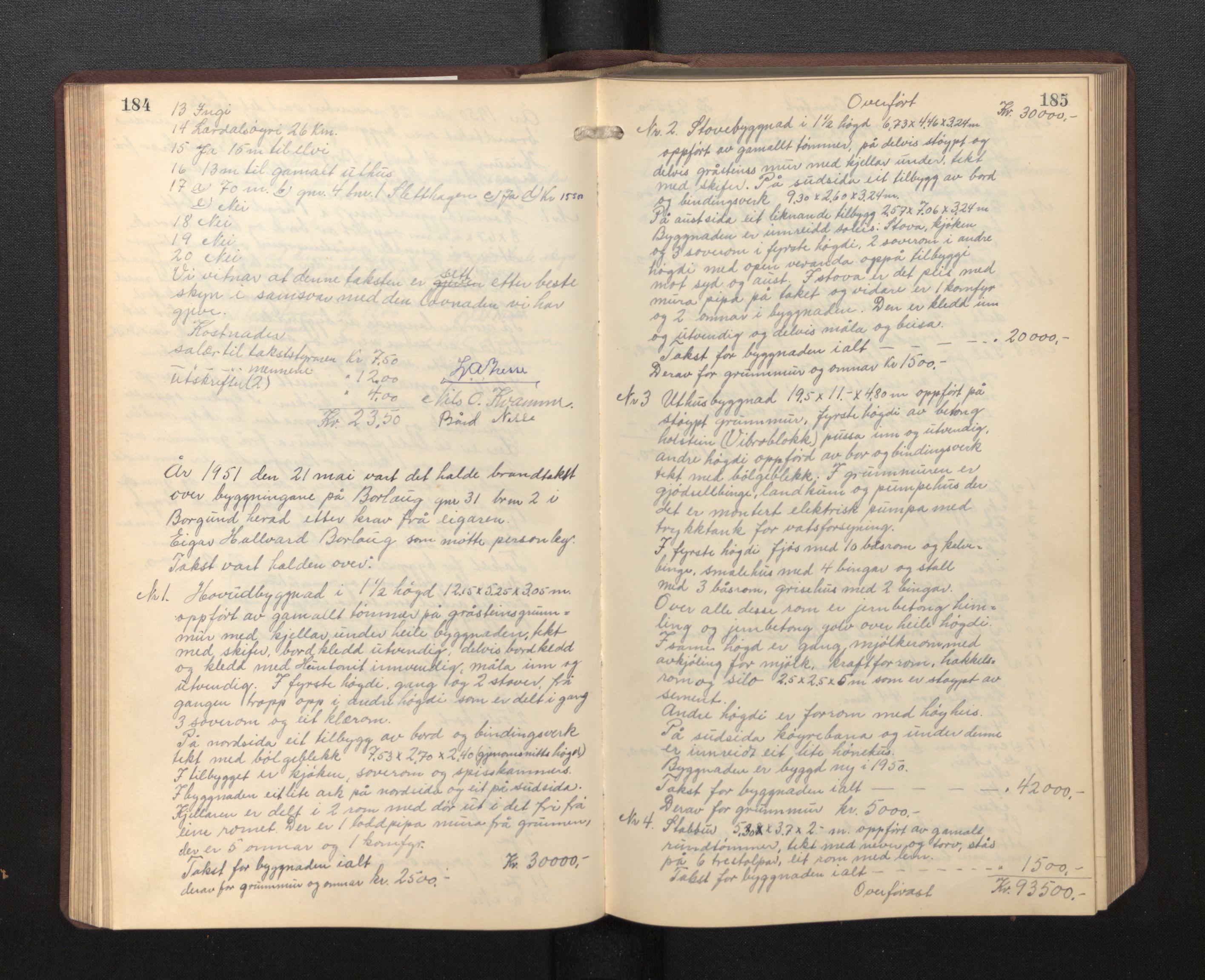 SAB, Lensmannen i Borgund, 0012/L0002: Branntakstprotokoll, 1929-1933, s. 184-185