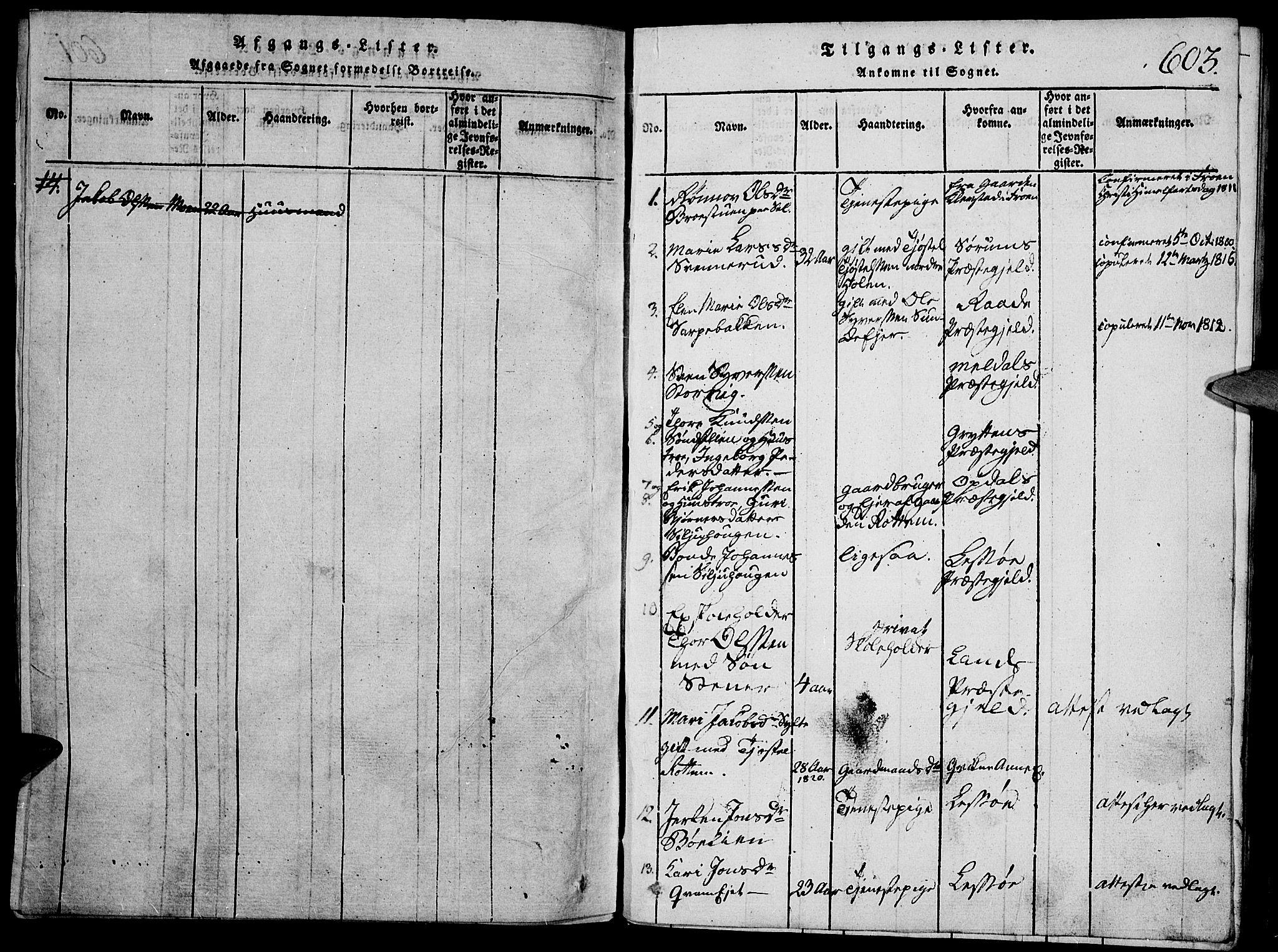 SAH, Vågå prestekontor, Klokkerbok nr. 1, 1815-1827, s. 602-603