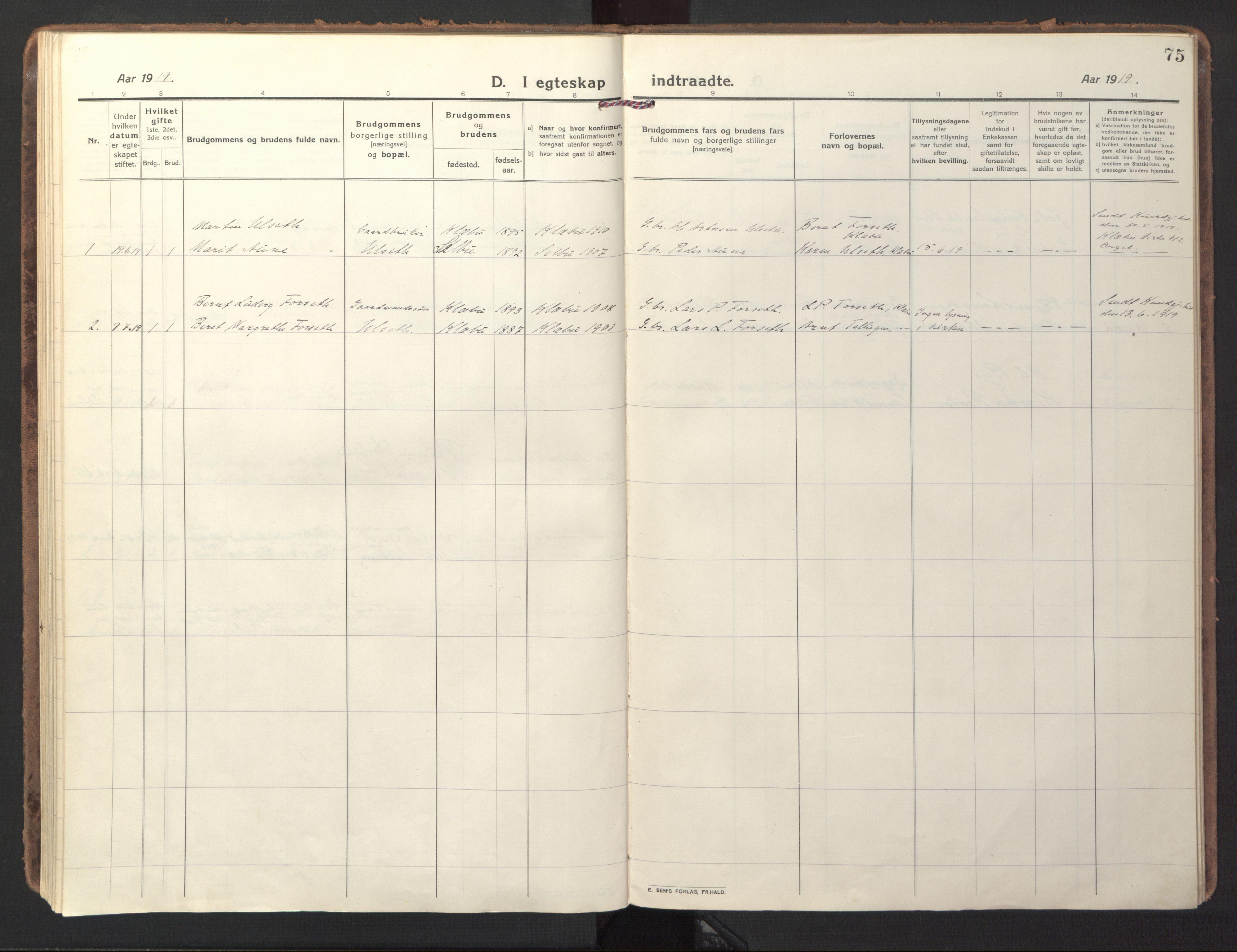 SAT, Ministerialprotokoller, klokkerbøker og fødselsregistre - Sør-Trøndelag, 618/L0449: Ministerialbok nr. 618A12, 1917-1924, s. 75
