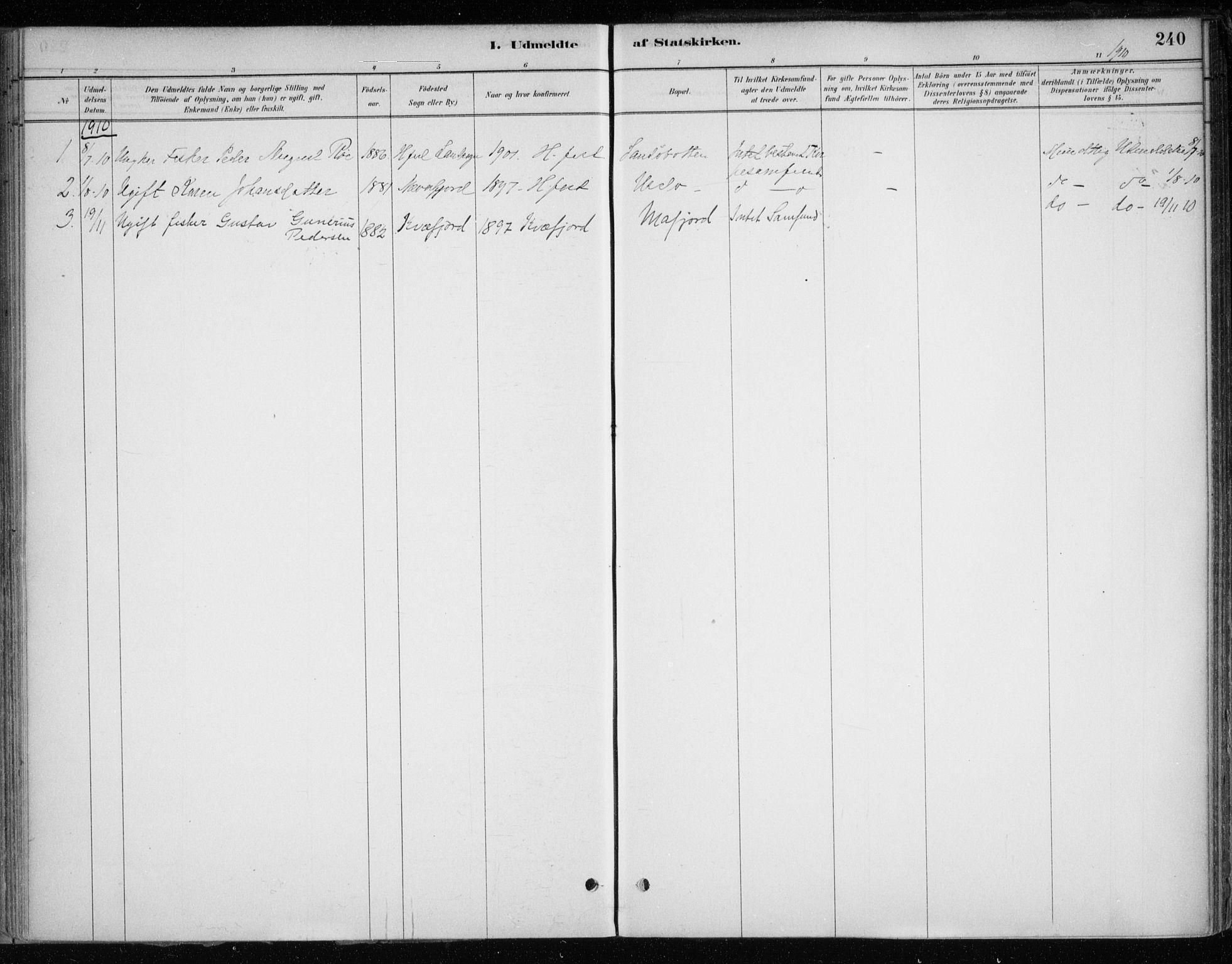 SATØ, Hammerfest sokneprestkontor, H/Ha/L0013.kirke: Ministerialbok nr. 13, 1898-1917, s. 240