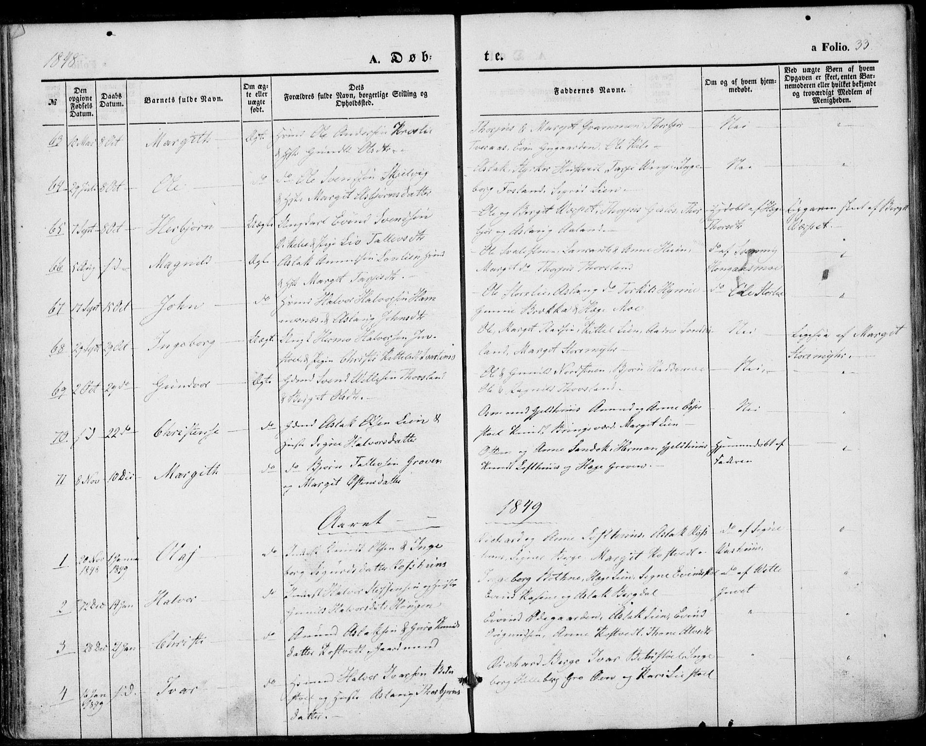 SAKO, Vinje kirkebøker, F/Fa/L0004: Ministerialbok nr. I 4, 1843-1869, s. 33