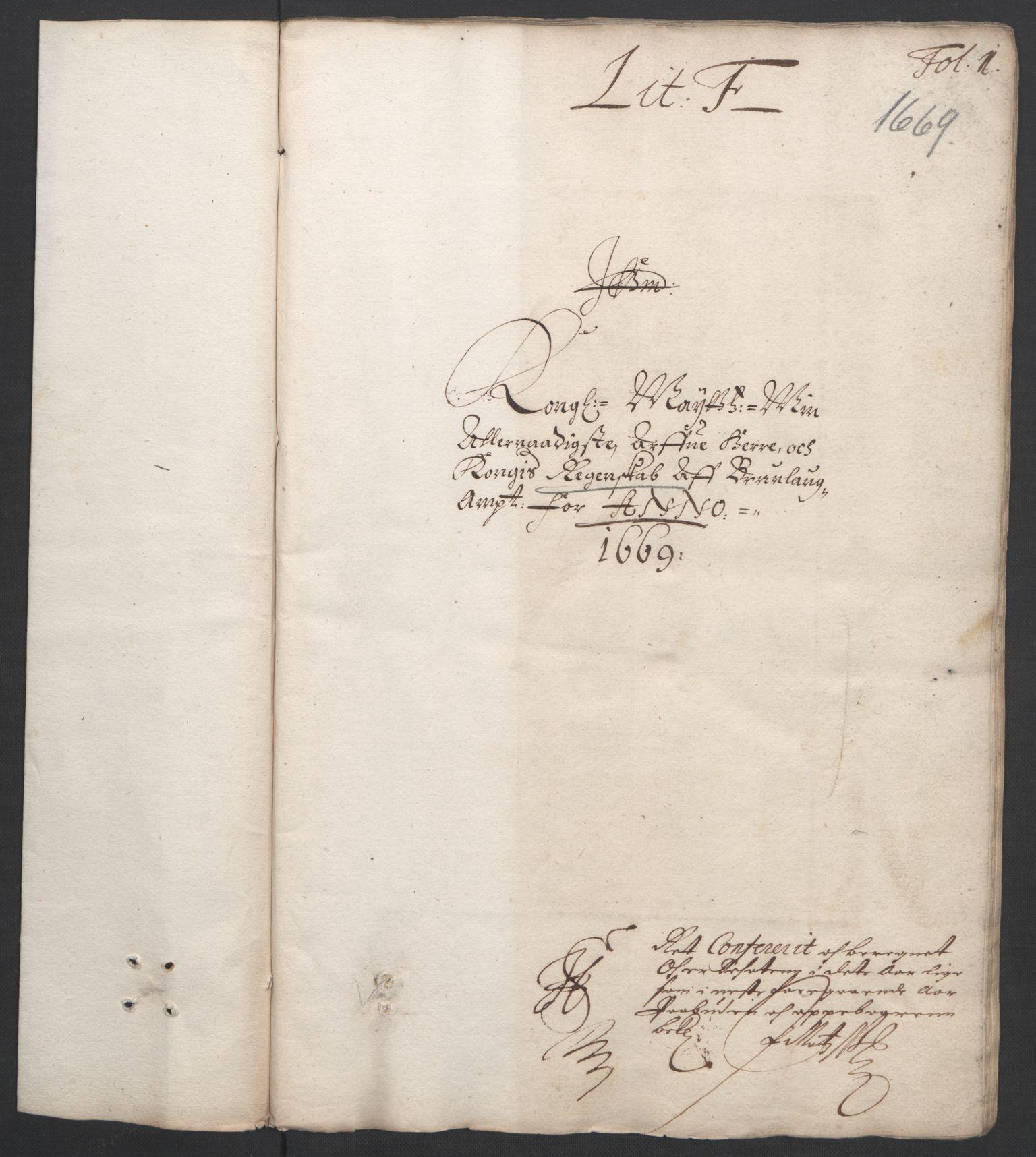 RA, Rentekammeret inntil 1814, Reviderte regnskaper, Fogderegnskap, R33/L1965: Fogderegnskap Larvik grevskap, 1669-1670, s. 3