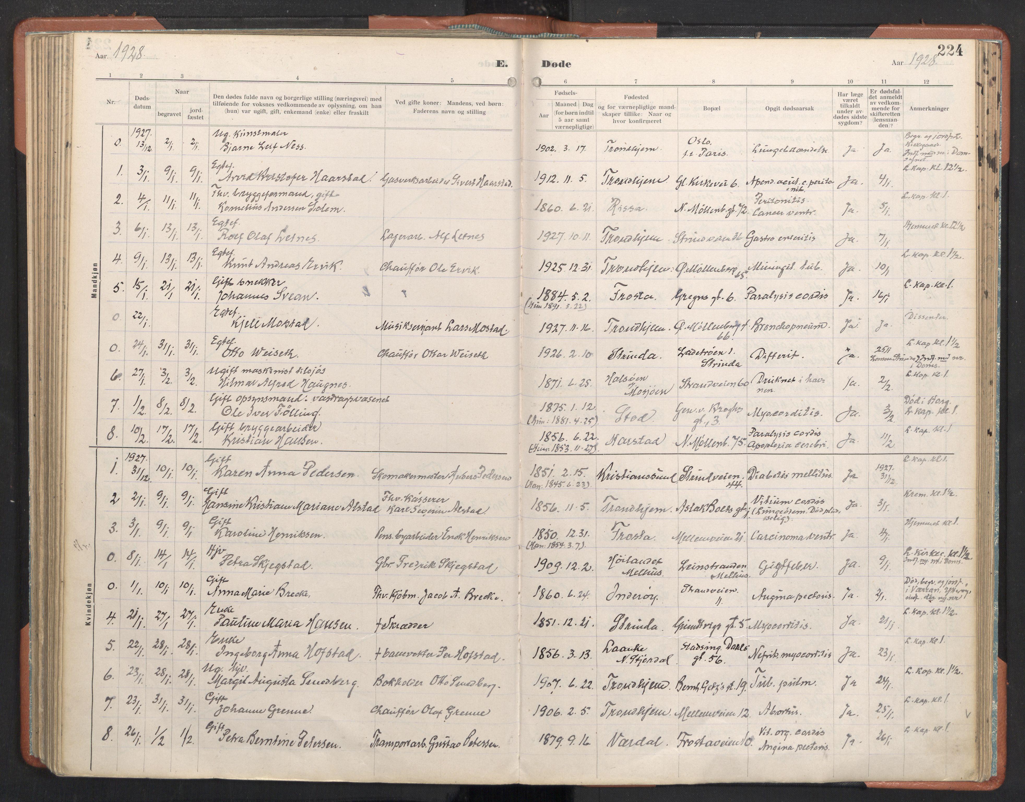 SAT, Ministerialprotokoller, klokkerbøker og fødselsregistre - Sør-Trøndelag, 605/L0245: Ministerialbok nr. 605A07, 1916-1938, s. 224
