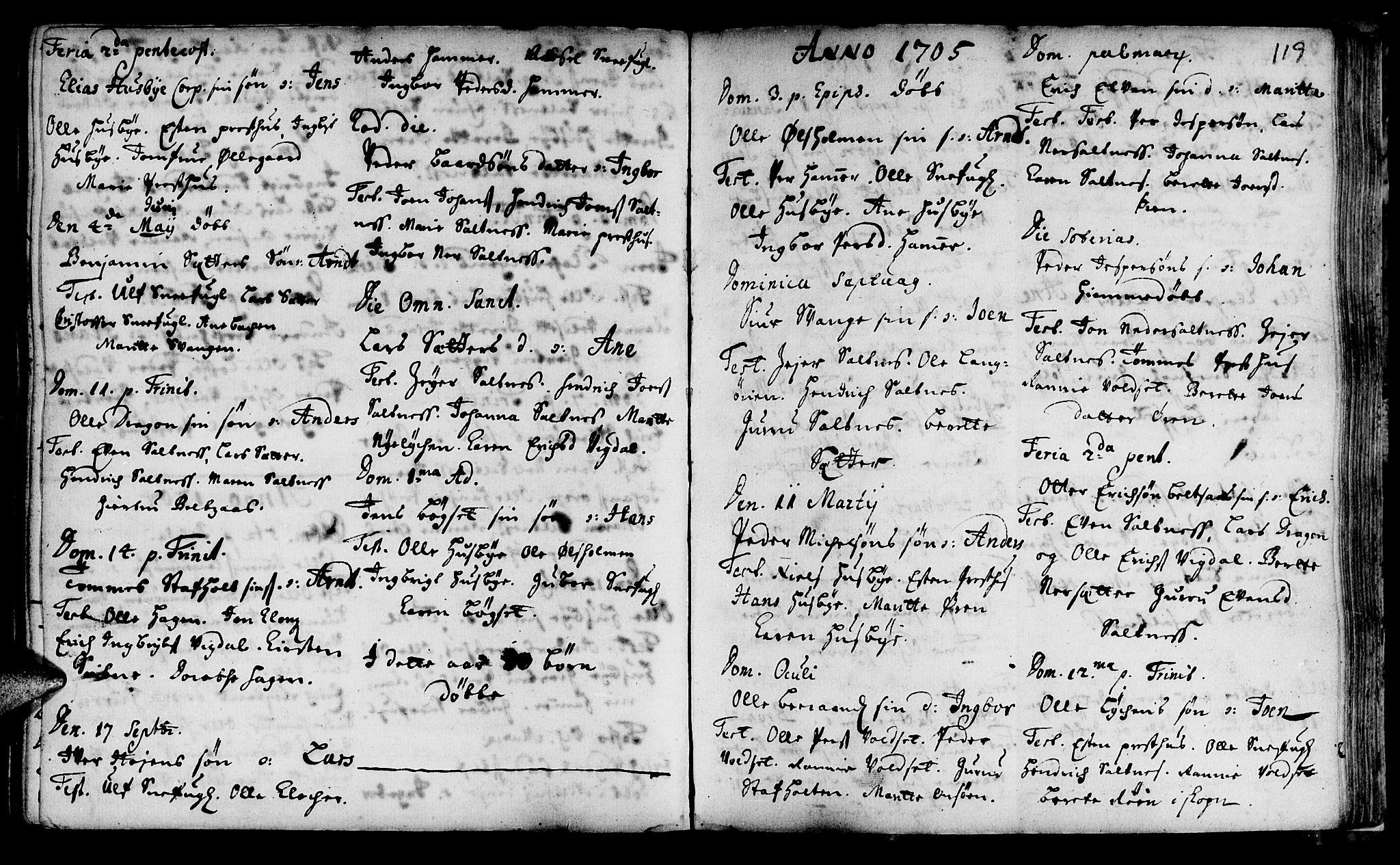 SAT, Ministerialprotokoller, klokkerbøker og fødselsregistre - Sør-Trøndelag, 666/L0783: Ministerialbok nr. 666A01, 1702-1753, s. 119