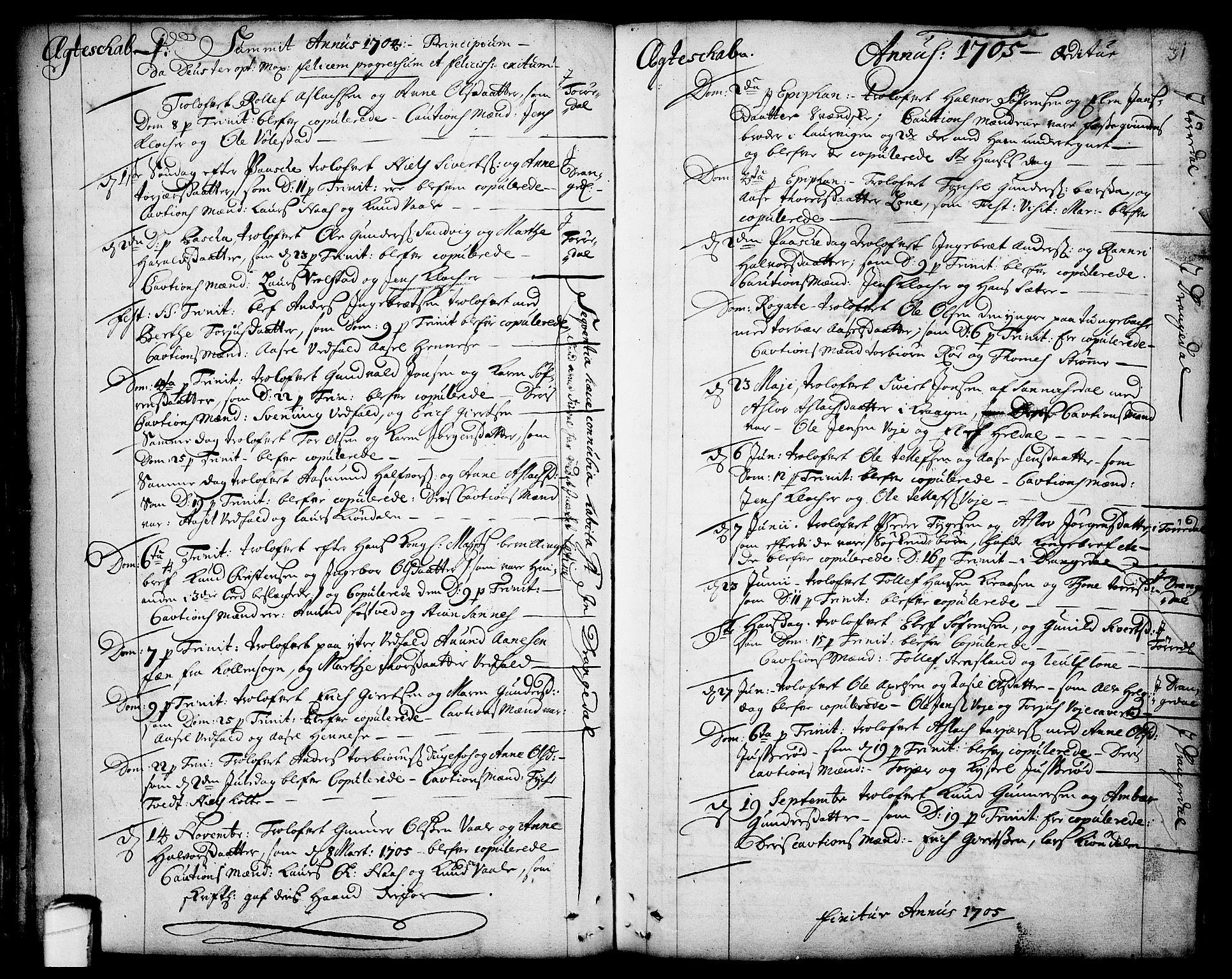 SAKO, Drangedal kirkebøker, F/Fa/L0001: Ministerialbok nr. 1, 1697-1767, s. 31