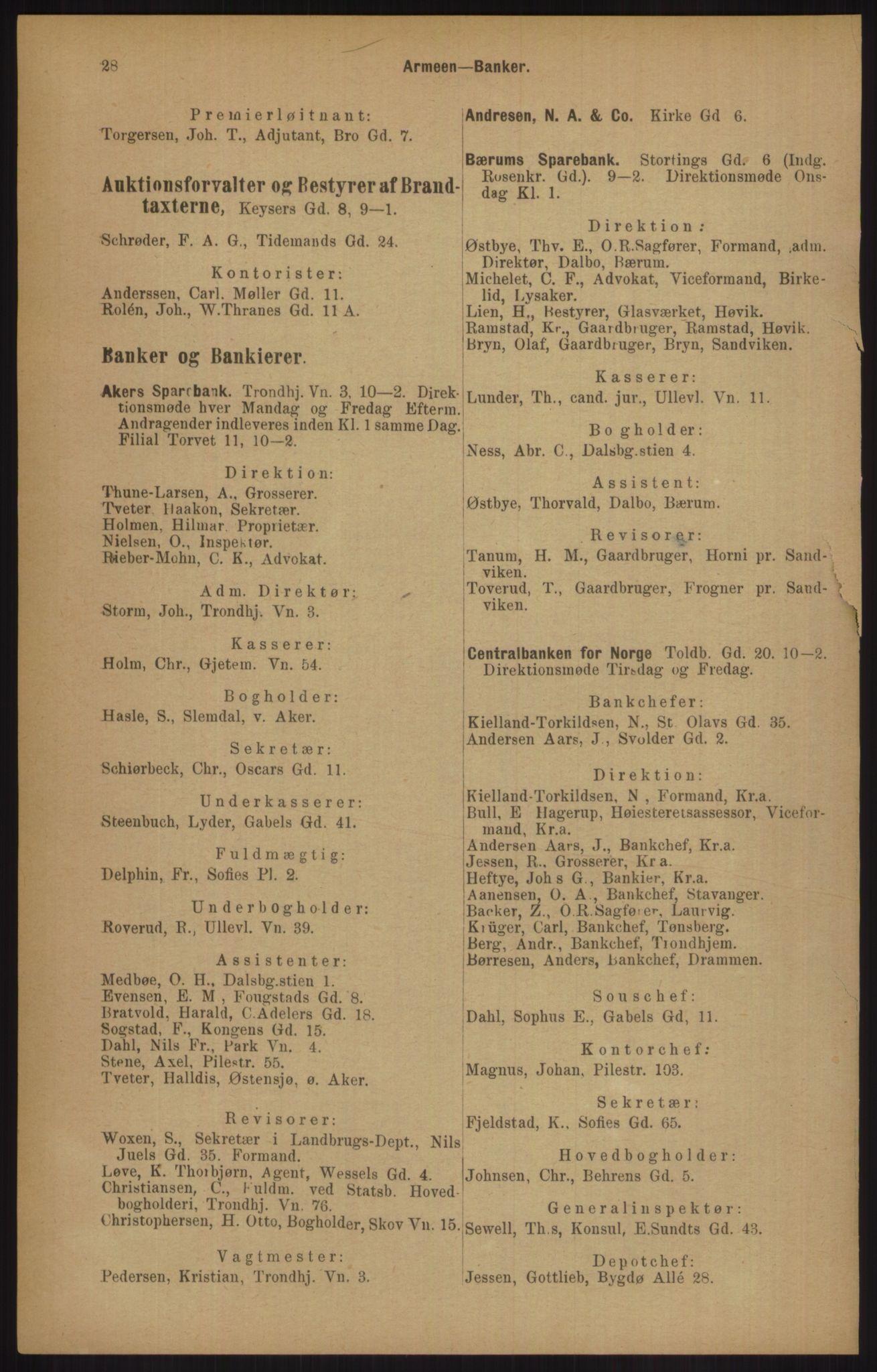 RA, Kristiania adressebok (publikasjon)*, 1905, s. 28