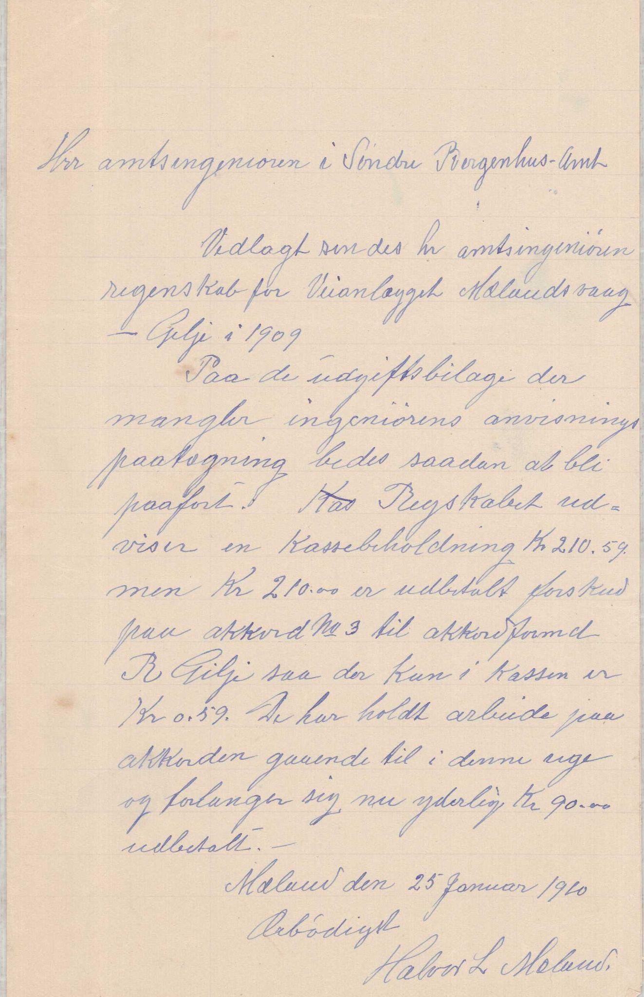 IKAH, Finnaas kommune. Formannskapet, E/Ea/L0001: Rekneskap for veganlegg, 1907-1910, s. 42
