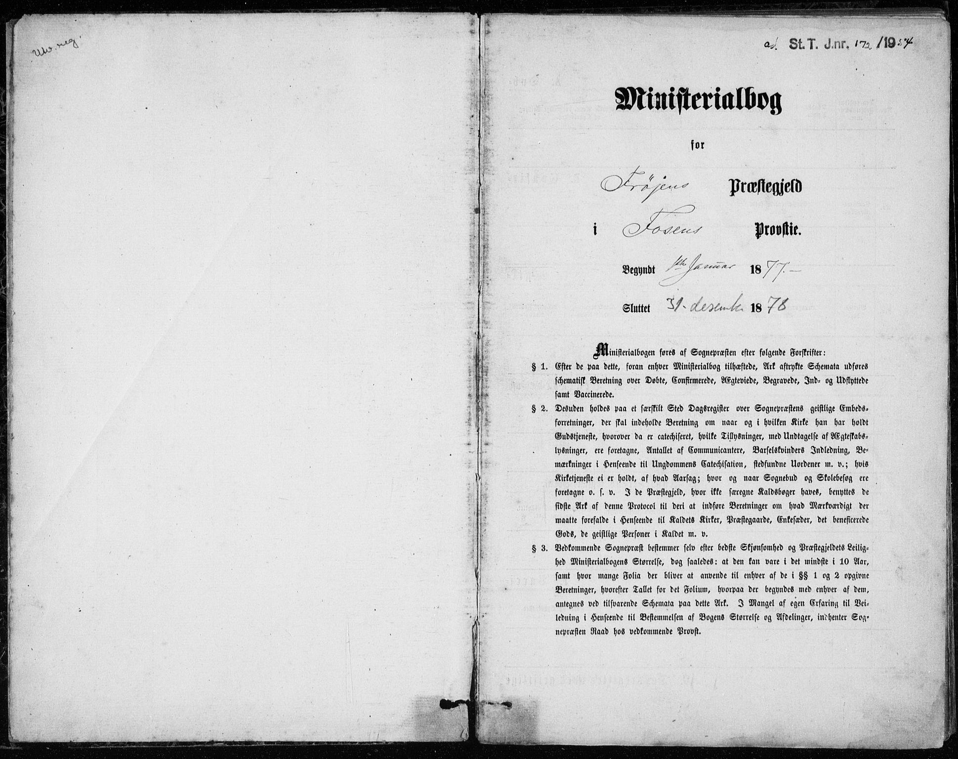 SAT, Ministerialprotokoller, klokkerbøker og fødselsregistre - Sør-Trøndelag, 640/L0577: Ministerialbok nr. 640A02, 1877-1878