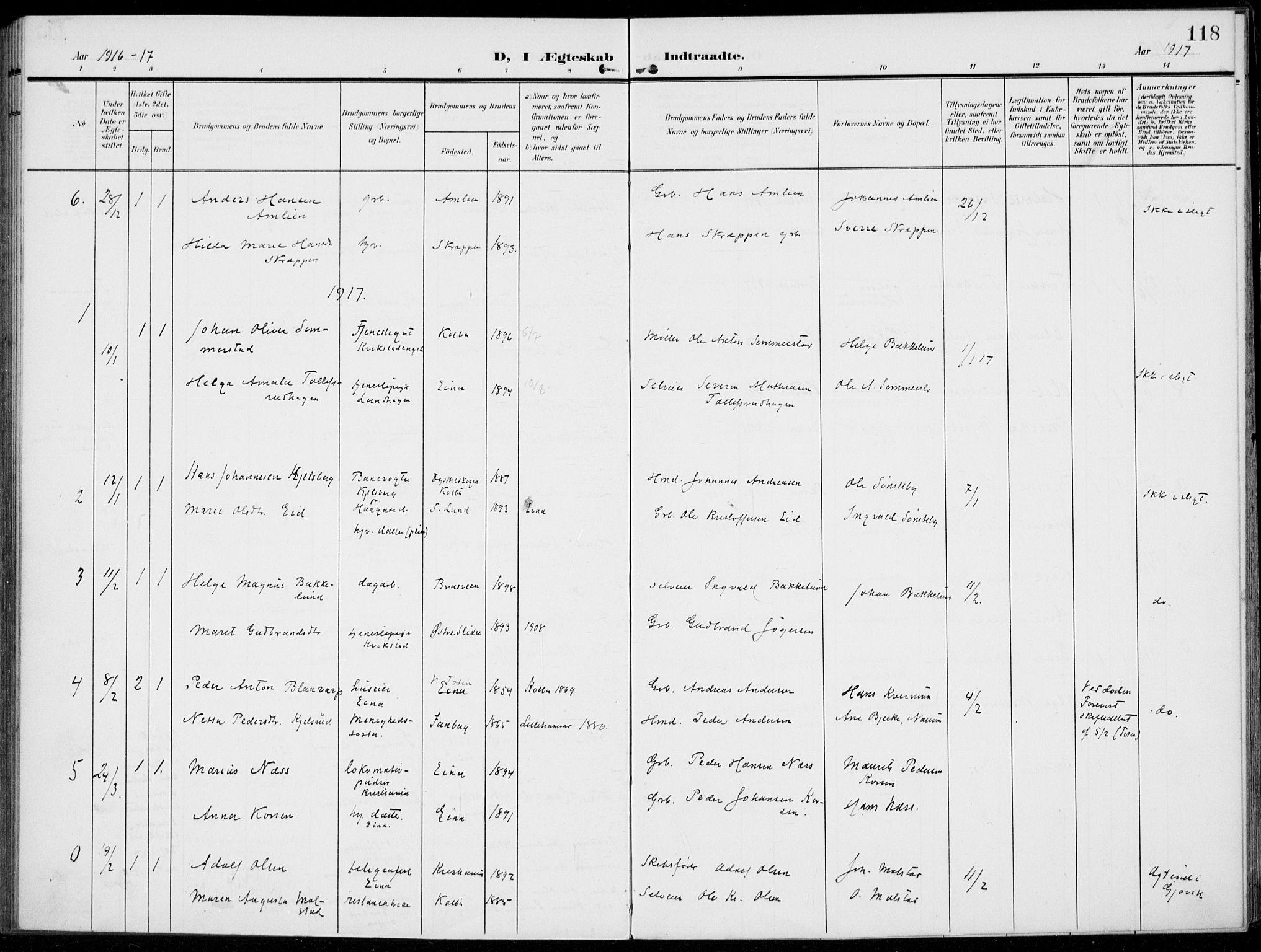 SAH, Kolbu prestekontor, Ministerialbok nr. 1, 1907-1923, s. 118