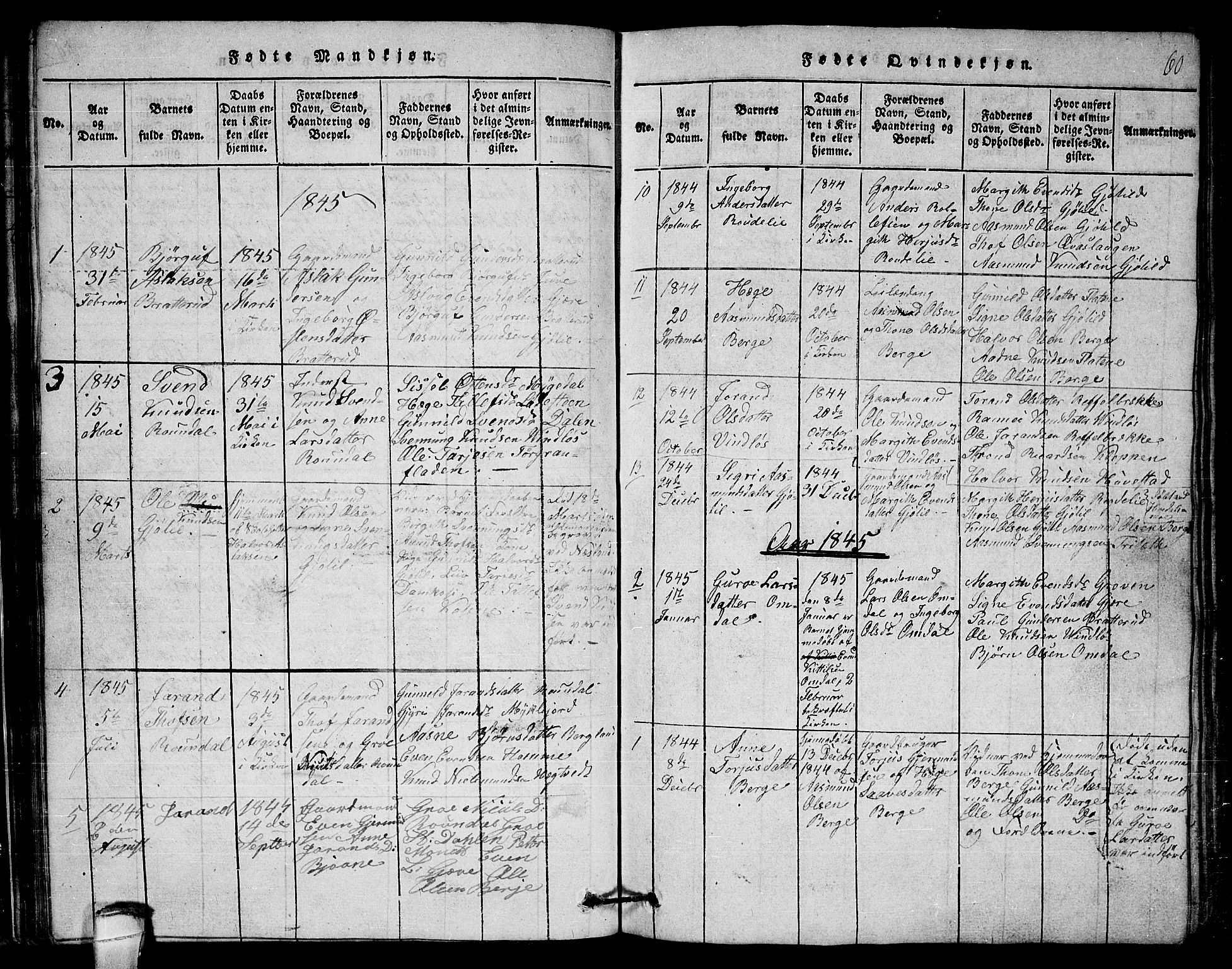SAKO, Lårdal kirkebøker, G/Gb/L0001: Klokkerbok nr. II 1, 1815-1865, s. 60