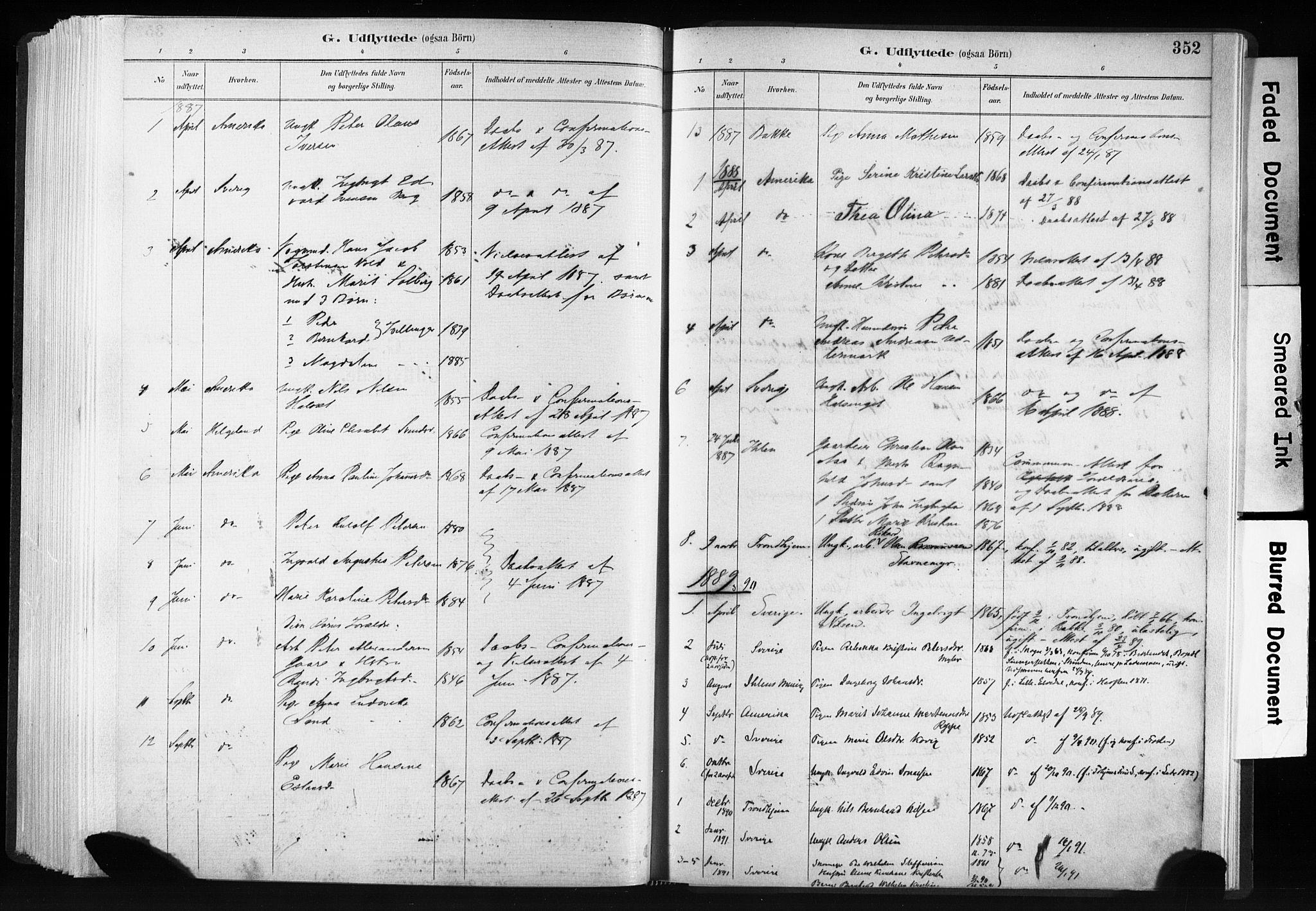 SAT, Ministerialprotokoller, klokkerbøker og fødselsregistre - Sør-Trøndelag, 606/L0300: Ministerialbok nr. 606A15, 1886-1893, s. 352