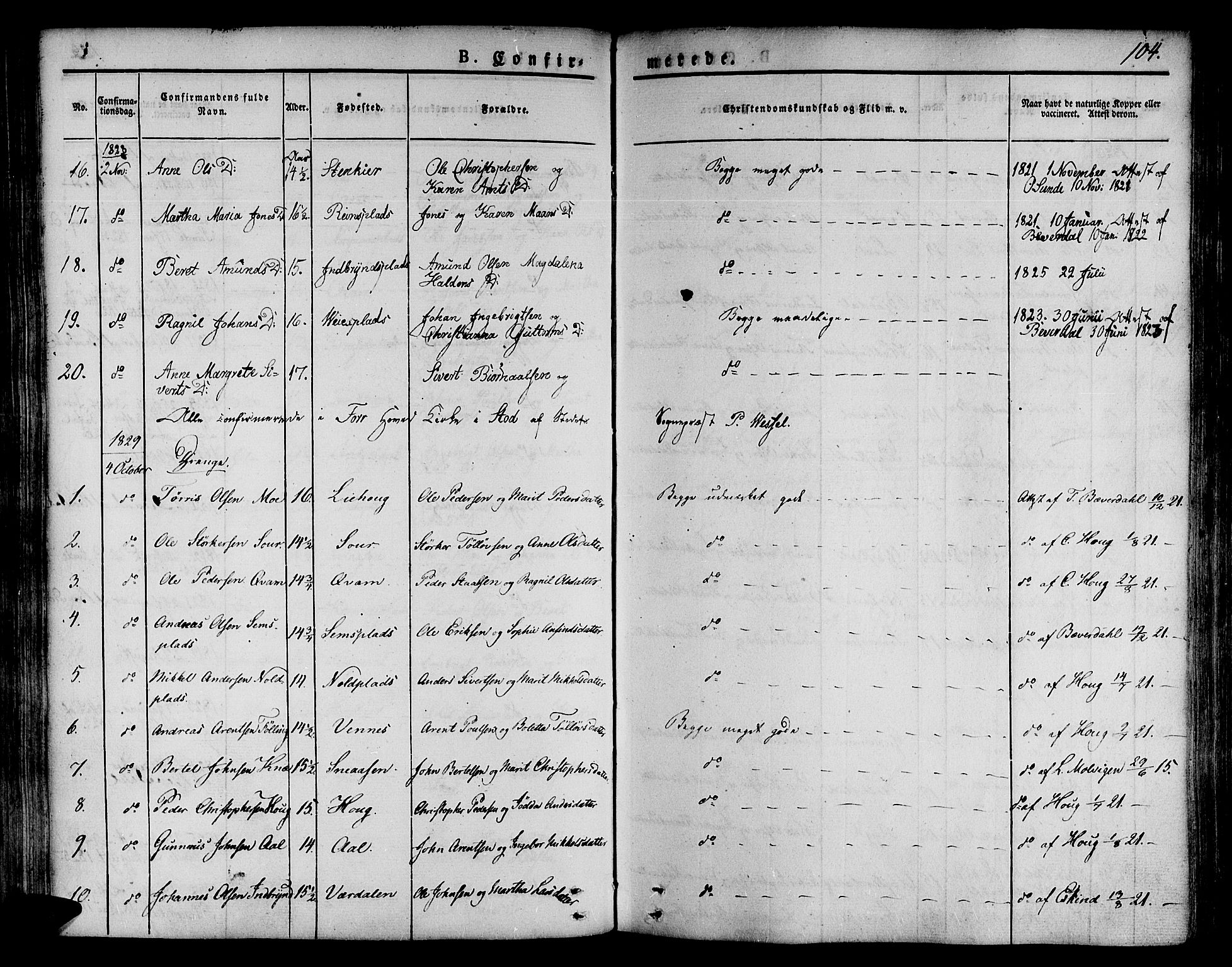 SAT, Ministerialprotokoller, klokkerbøker og fødselsregistre - Nord-Trøndelag, 746/L0445: Ministerialbok nr. 746A04, 1826-1846, s. 104