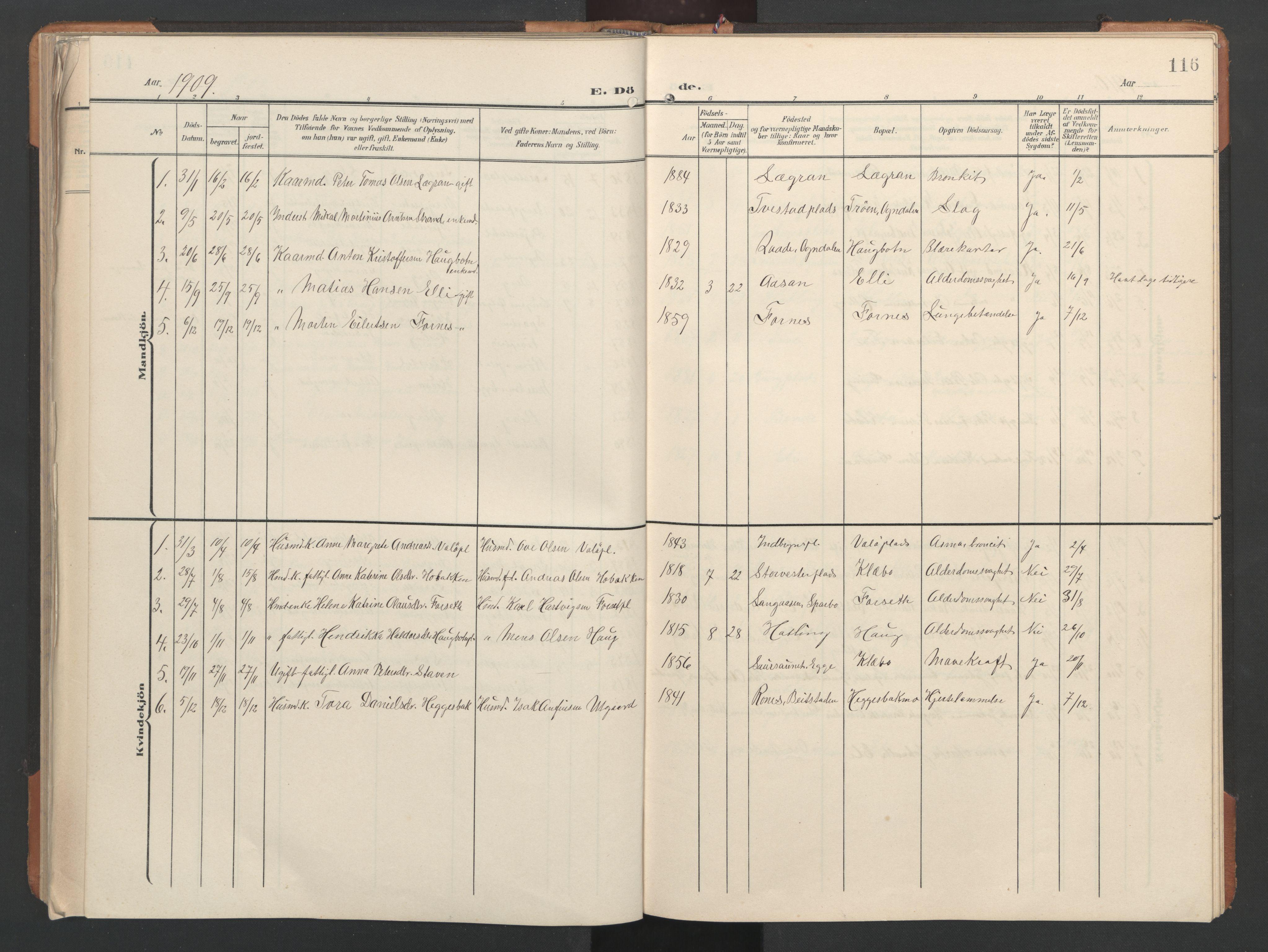 SAT, Ministerialprotokoller, klokkerbøker og fødselsregistre - Nord-Trøndelag, 746/L0455: Klokkerbok nr. 746C01, 1908-1933, s. 116