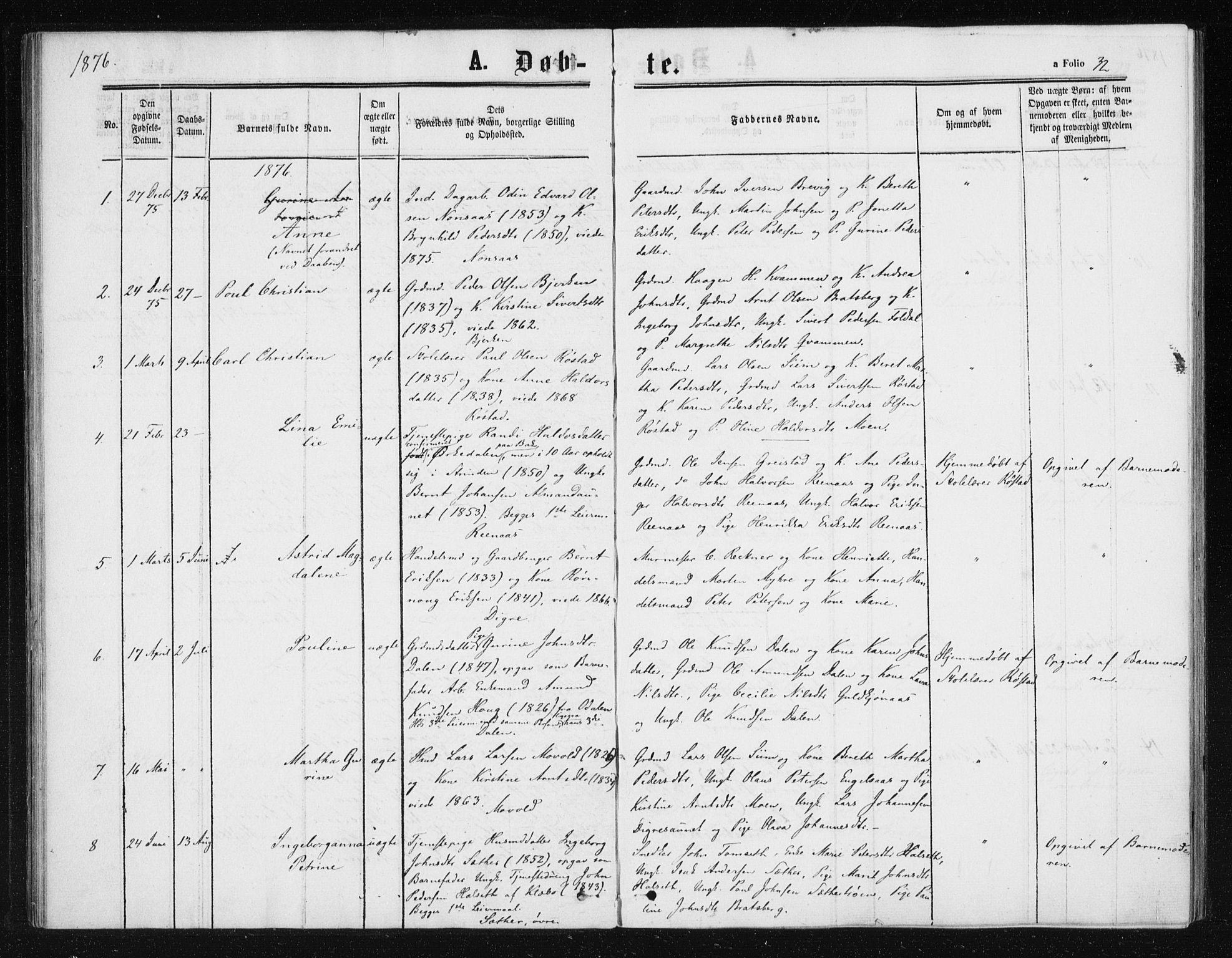 SAT, Ministerialprotokoller, klokkerbøker og fødselsregistre - Sør-Trøndelag, 608/L0333: Ministerialbok nr. 608A02, 1862-1876, s. 32