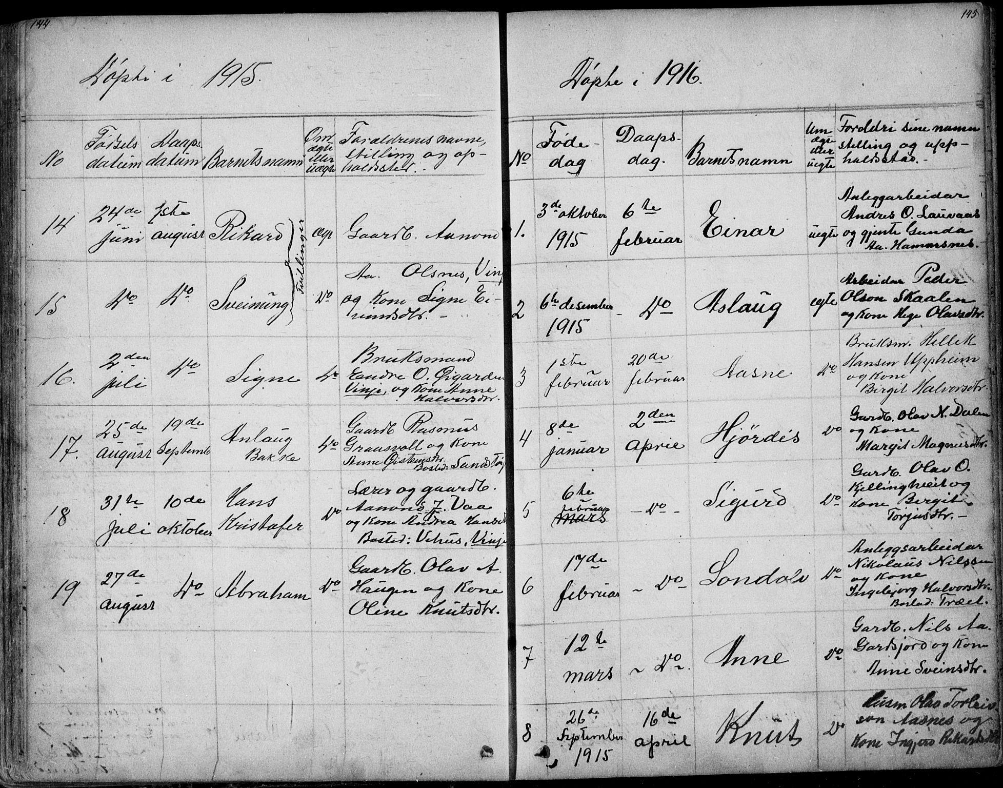 SAKO, Rauland kirkebøker, G/Ga/L0002: Klokkerbok nr. I 2, 1849-1935, s. 144-145