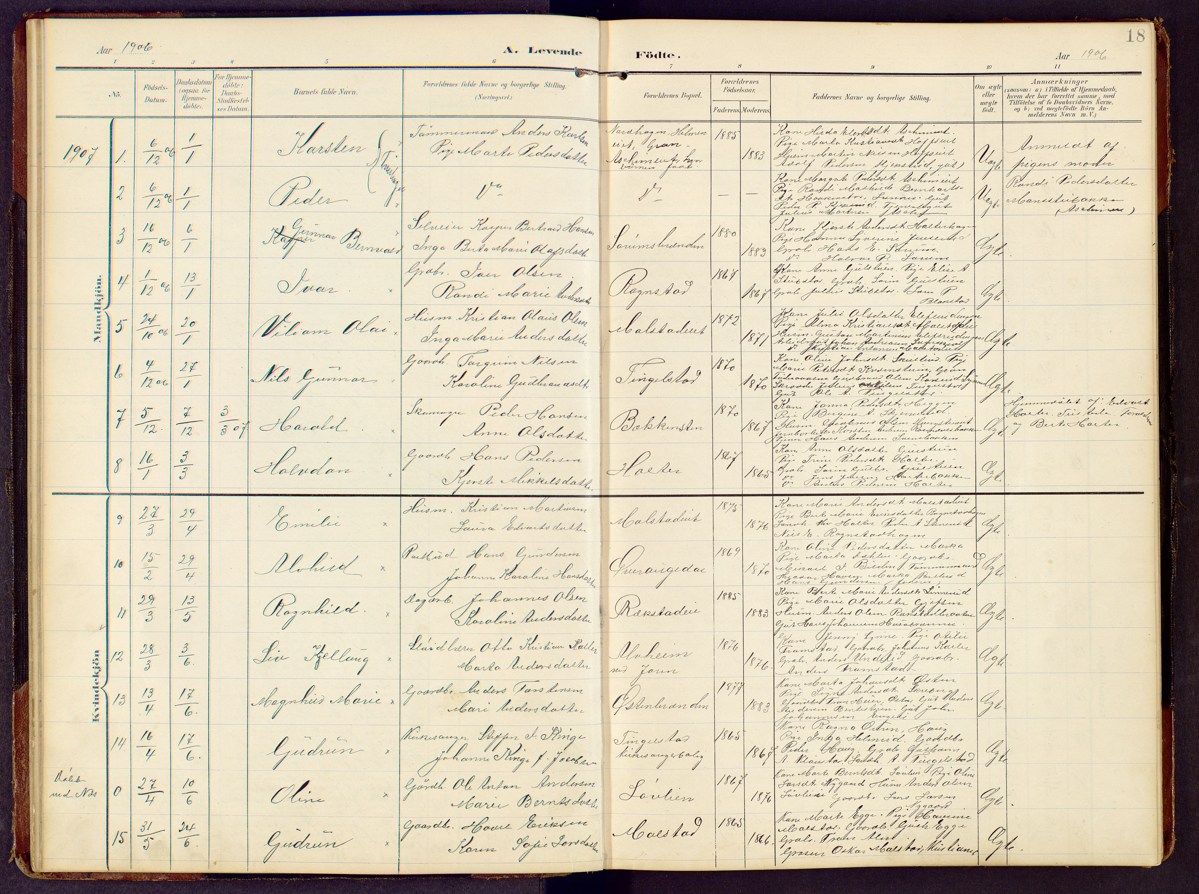SAH, Brandbu prestekontor, Klokkerbok nr. 9, 1903-1916, s. 18