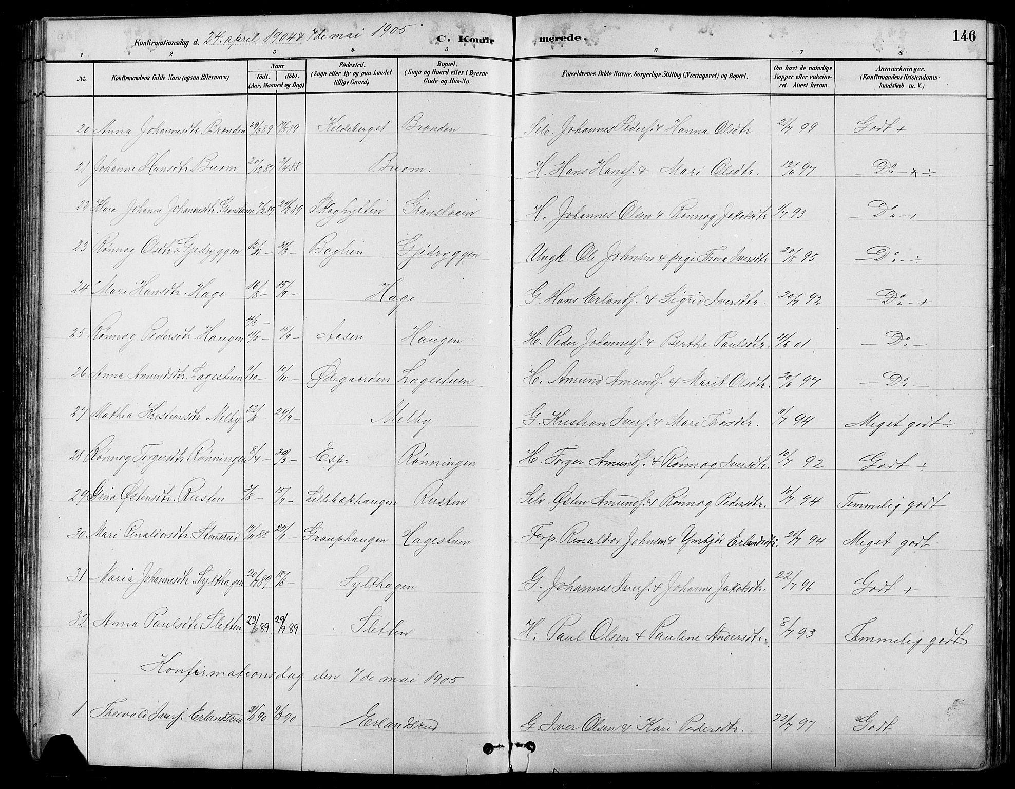 SAH, Nord-Fron prestekontor, Klokkerbok nr. 5, 1884-1914, s. 146