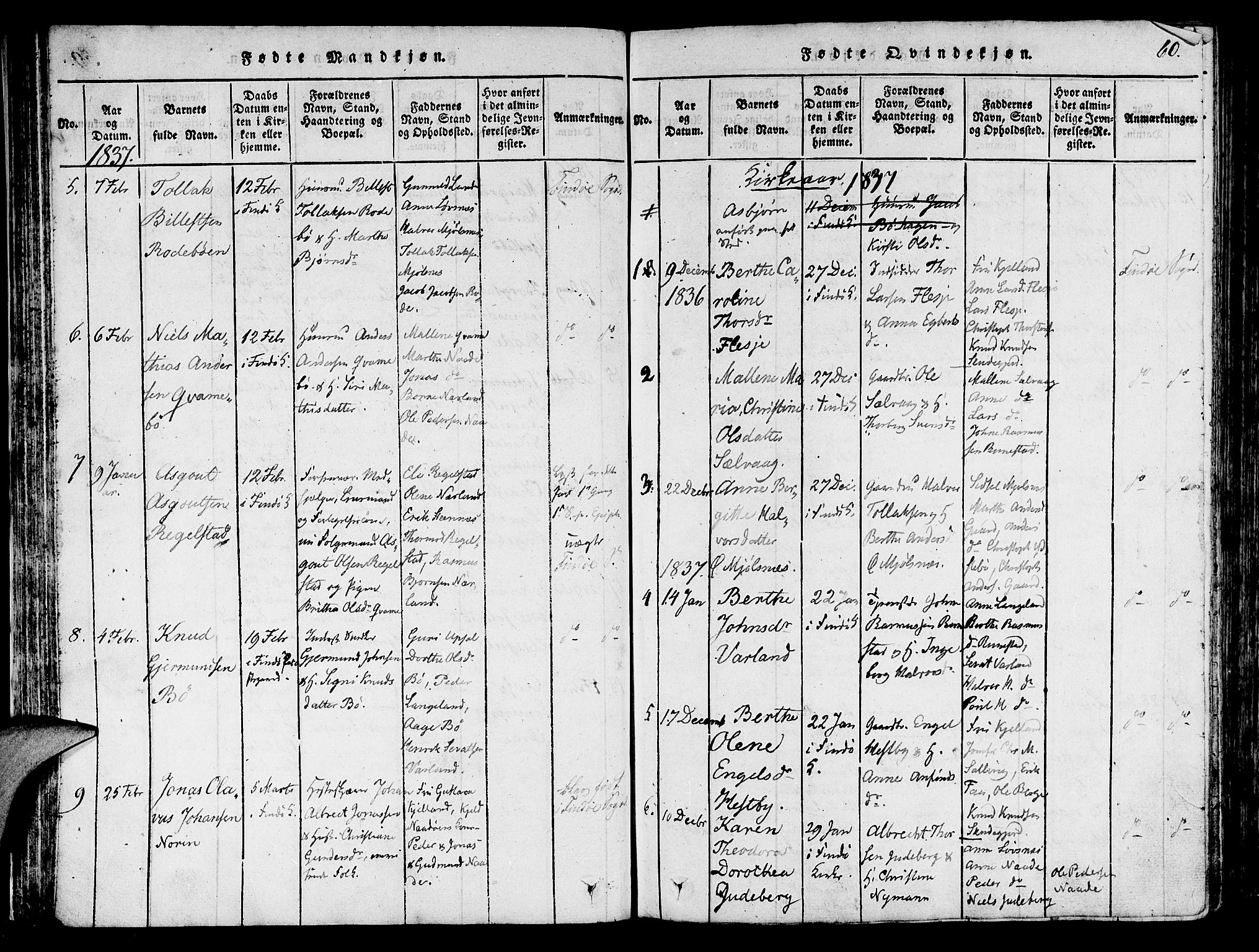 SAST, Finnøy sokneprestkontor, H/Ha/Haa/L0006: Ministerialbok nr. A 6, 1816-1846, s. 60