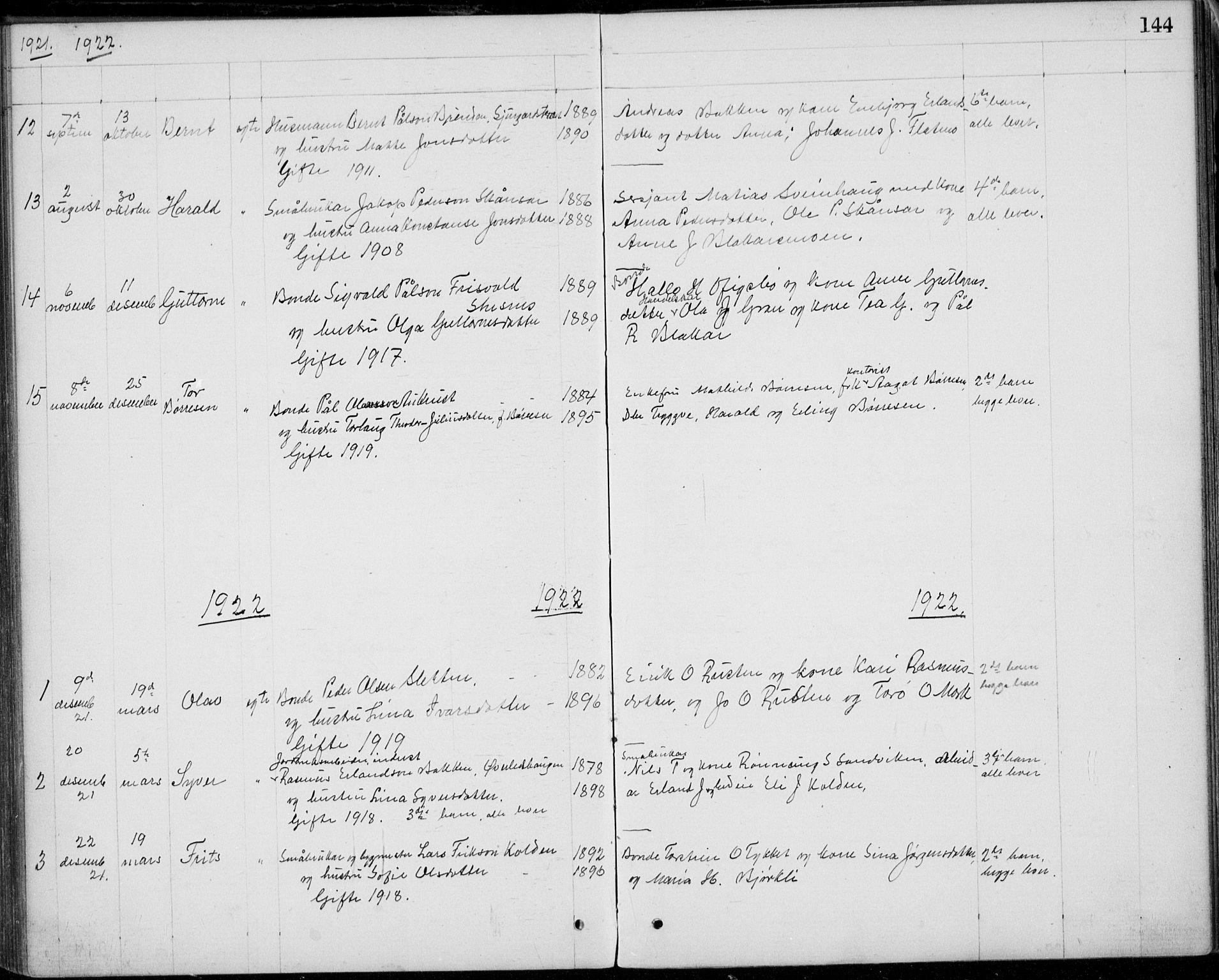 SAH, Lom prestekontor, L/L0013: Klokkerbok nr. 13, 1874-1938, s. 144