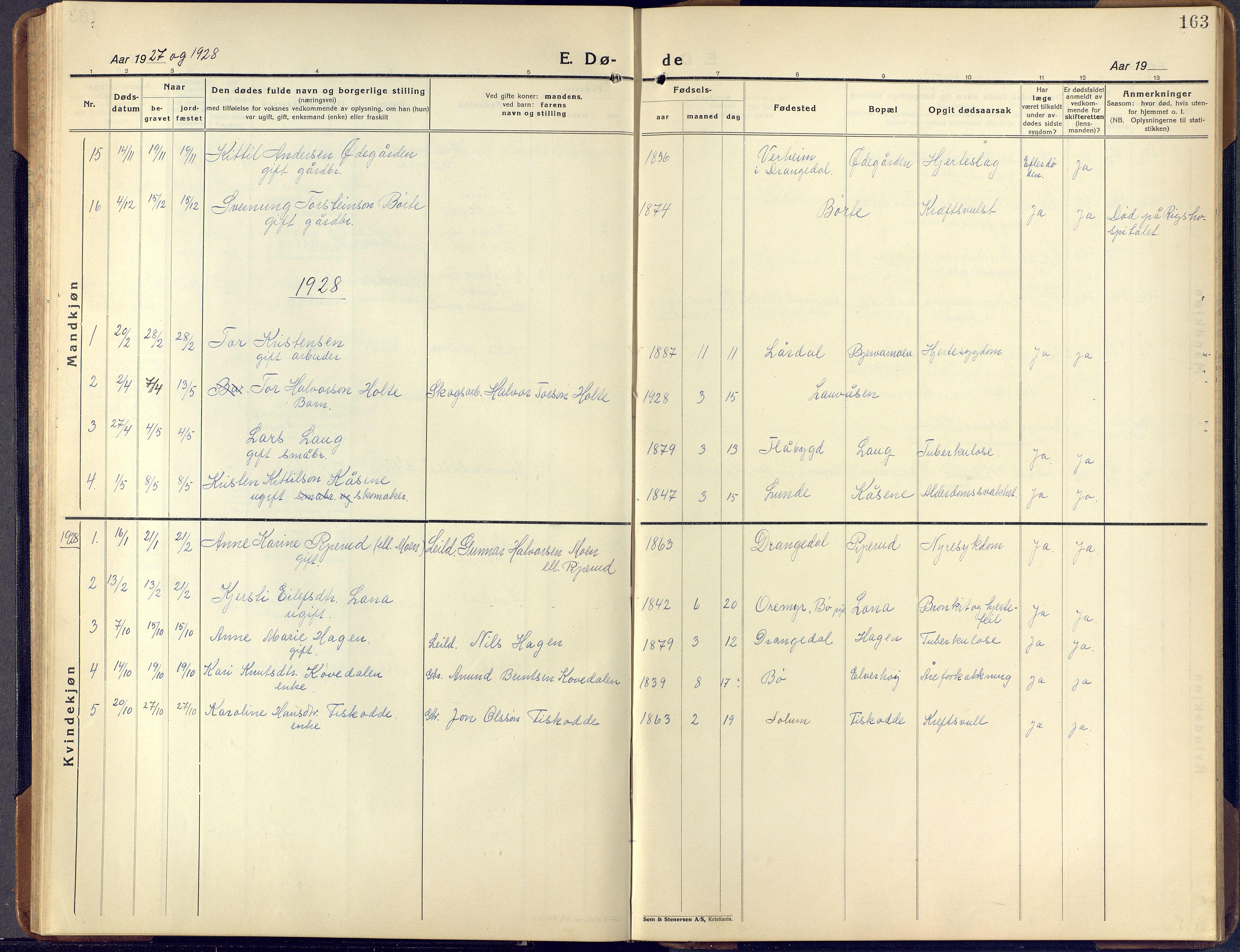 SAKO, Lunde kirkebøker, F/Fa/L0006: Ministerialbok nr. I 6, 1922-1940, s. 163
