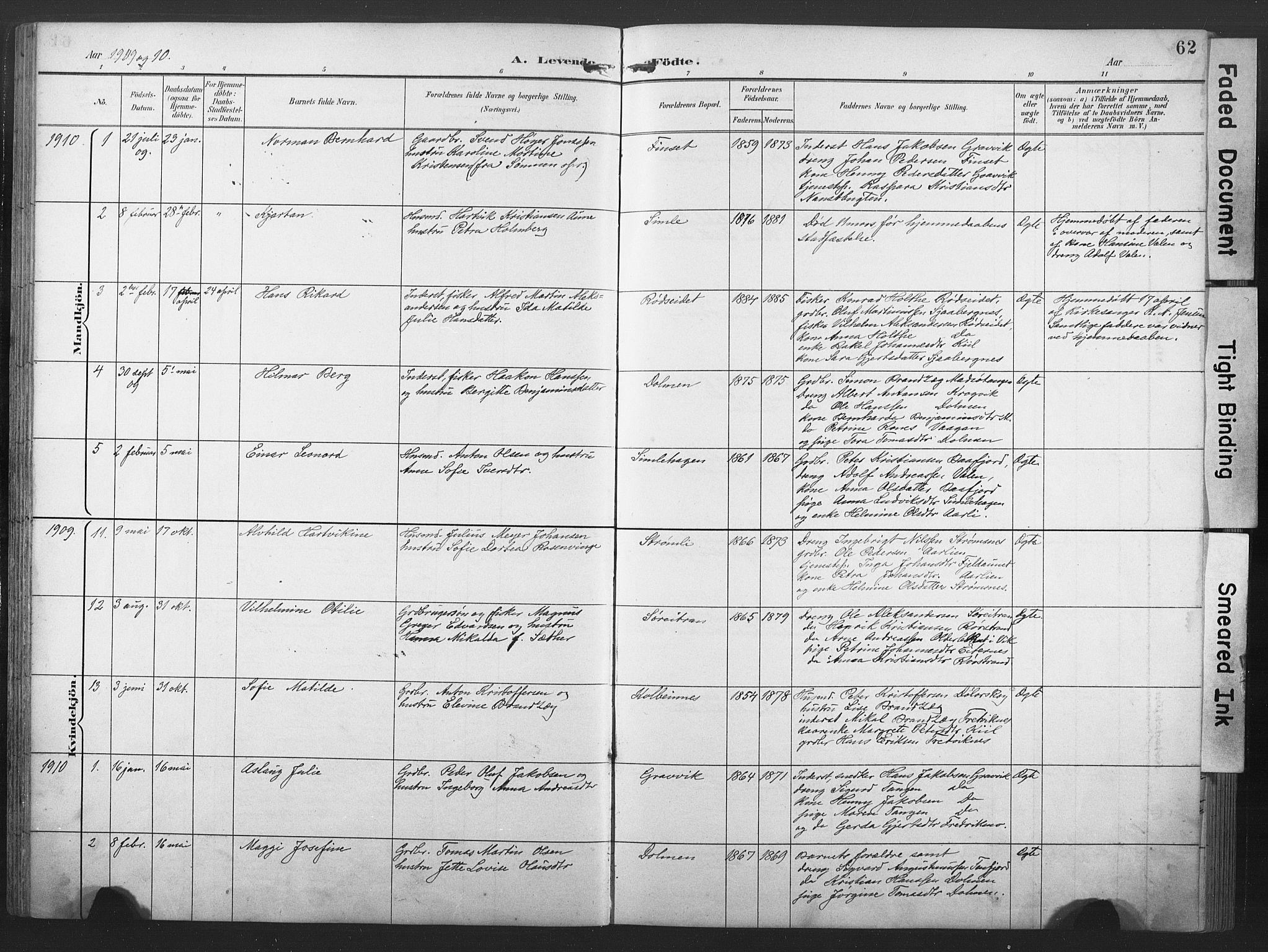 SAT, Ministerialprotokoller, klokkerbøker og fødselsregistre - Nord-Trøndelag, 789/L0706: Klokkerbok nr. 789C01, 1888-1931, s. 62