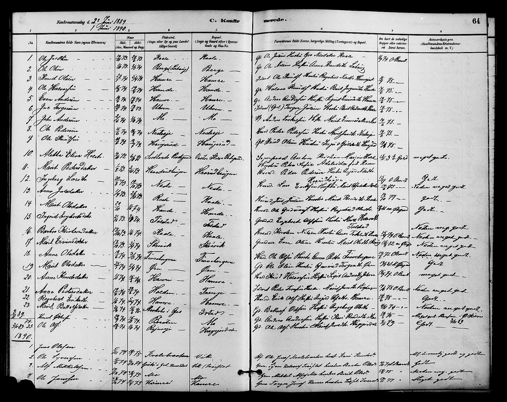 SAH, Vestre Slidre prestekontor, Klokkerbok nr. 4, 1881-1912, s. 64
