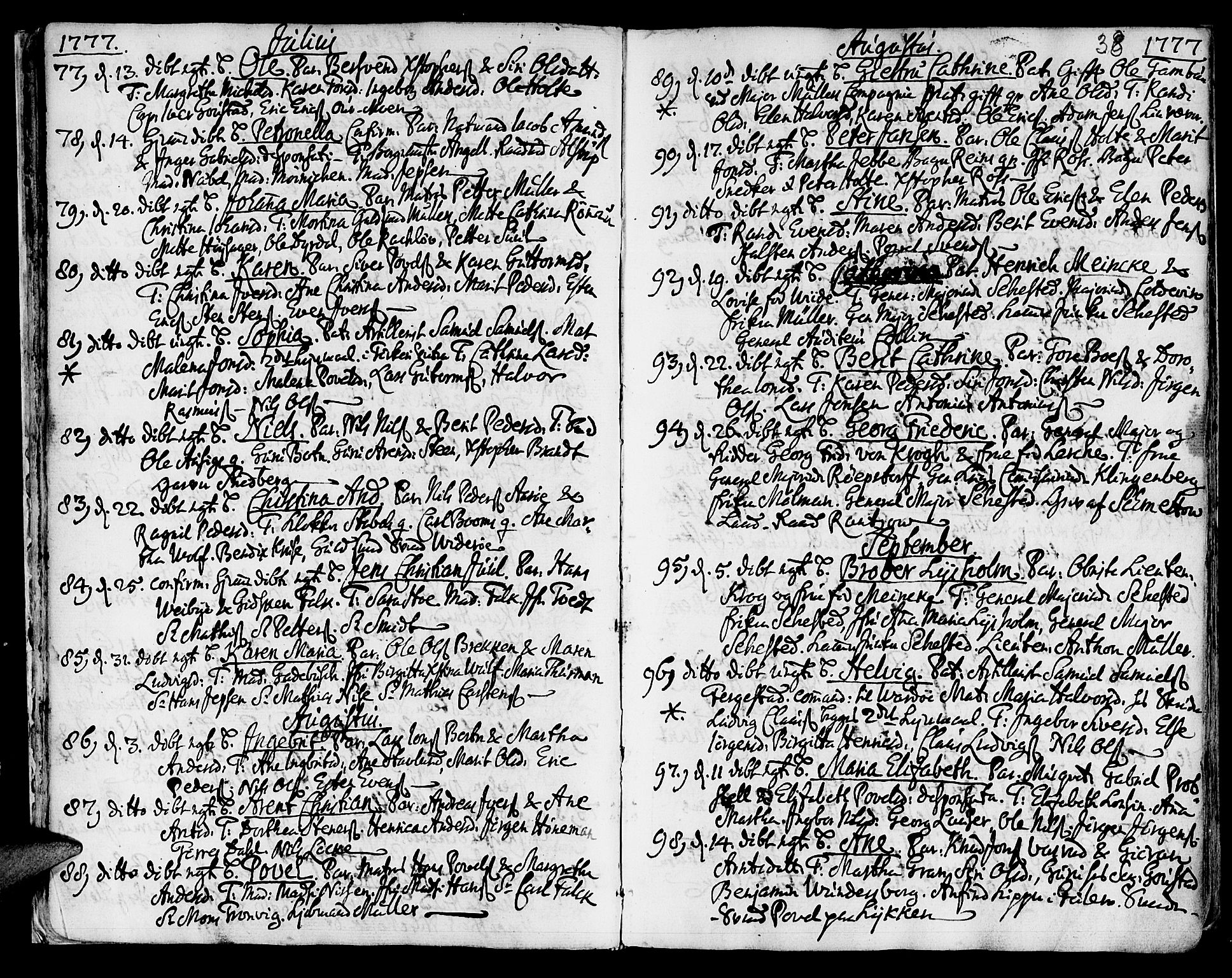 SAT, Ministerialprotokoller, klokkerbøker og fødselsregistre - Sør-Trøndelag, 601/L0039: Ministerialbok nr. 601A07, 1770-1819, s. 38