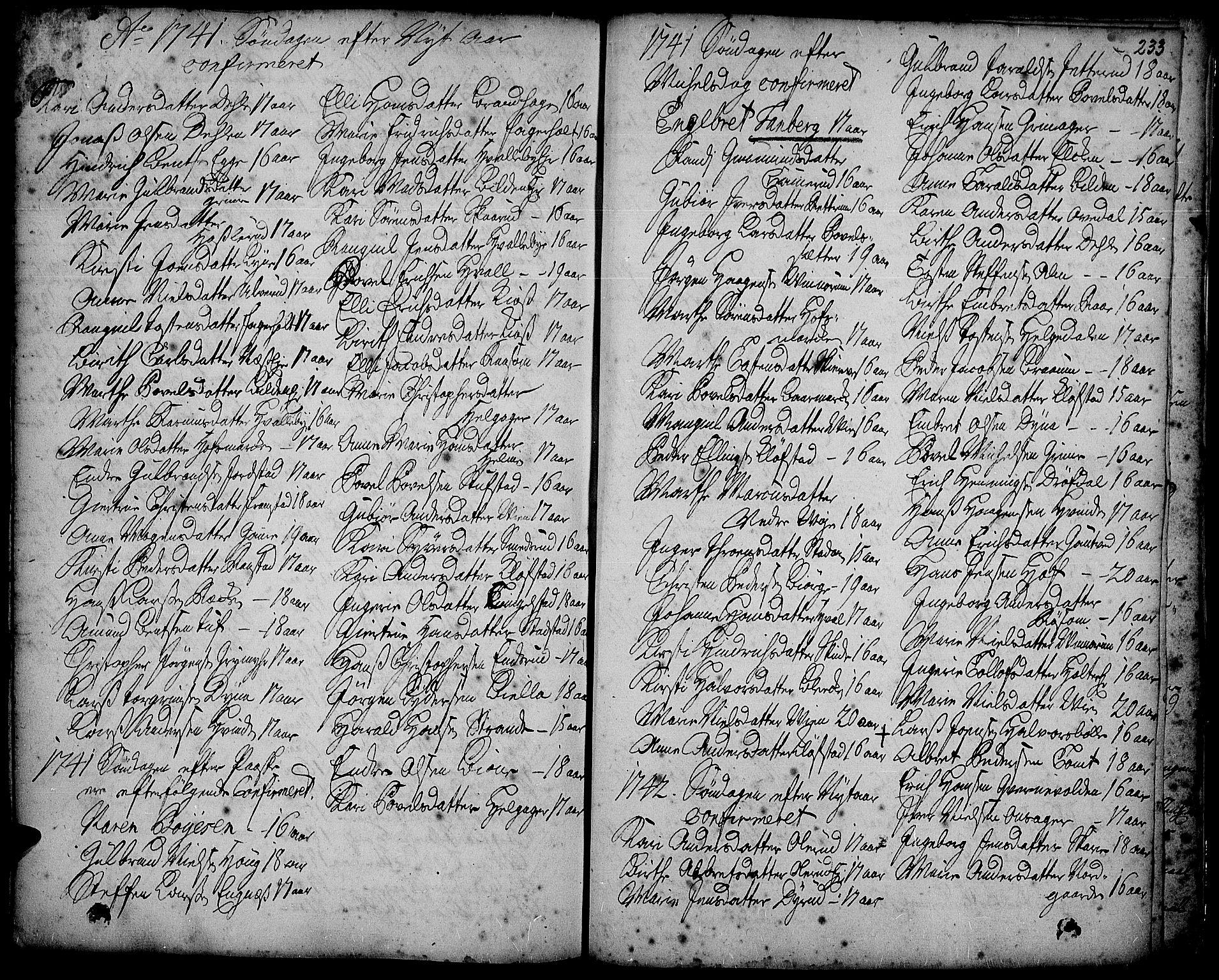 SAH, Gran prestekontor, Ministerialbok nr. 2, 1732-1744, s. 233