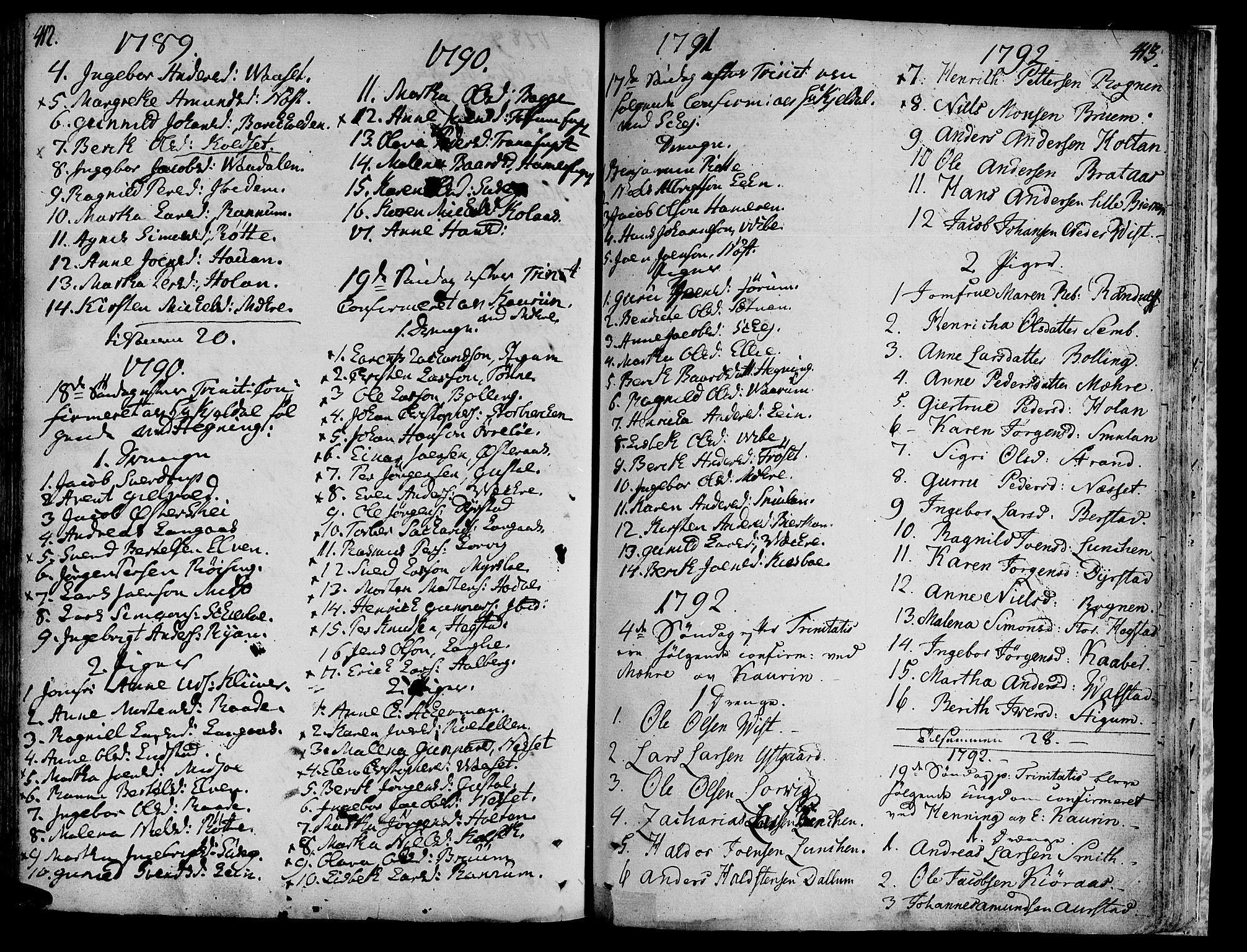 SAT, Ministerialprotokoller, klokkerbøker og fødselsregistre - Nord-Trøndelag, 735/L0331: Ministerialbok nr. 735A02, 1762-1794, s. 412-413