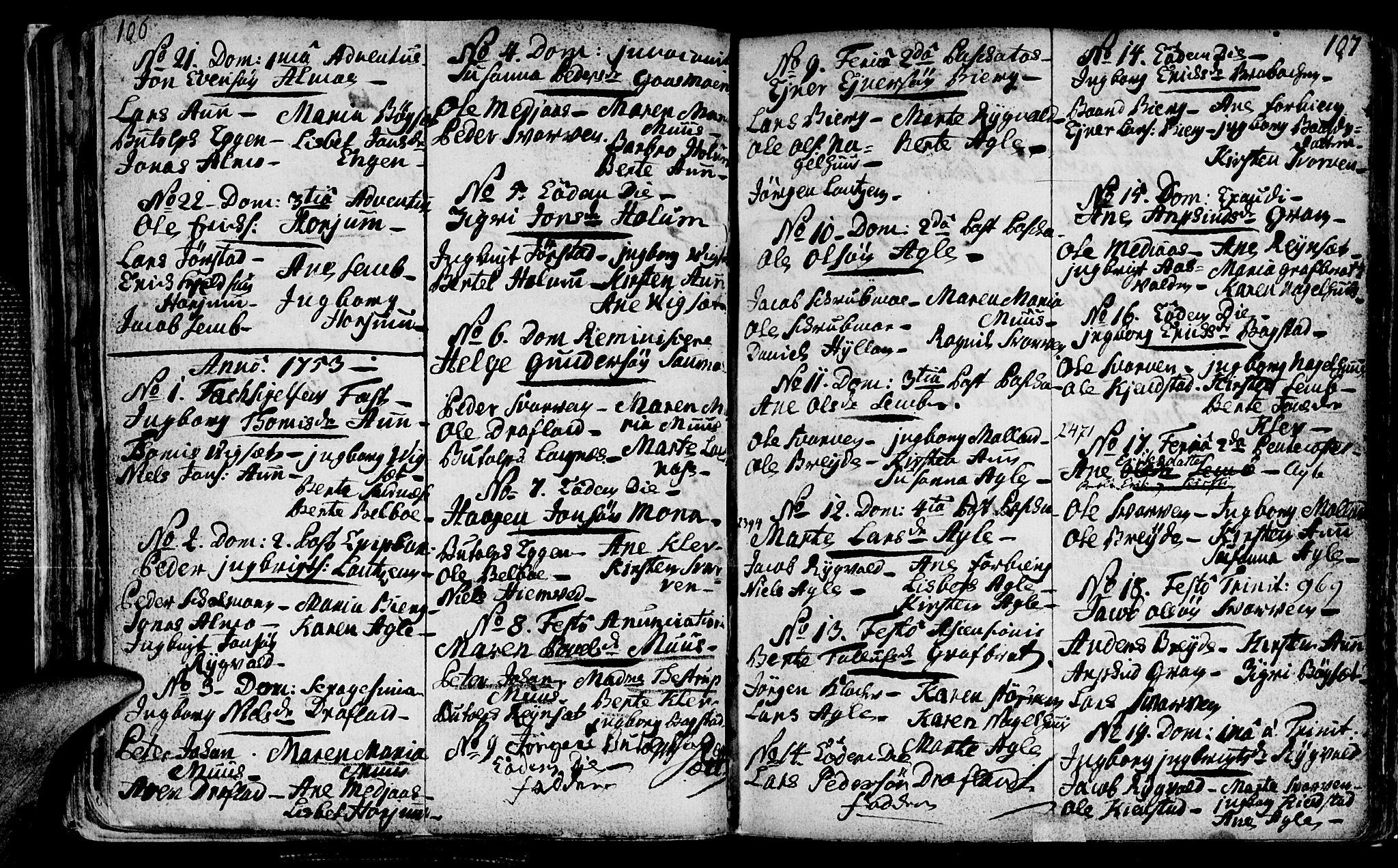 SAT, Ministerialprotokoller, klokkerbøker og fødselsregistre - Nord-Trøndelag, 749/L0467: Ministerialbok nr. 749A01, 1733-1787, s. 106-107