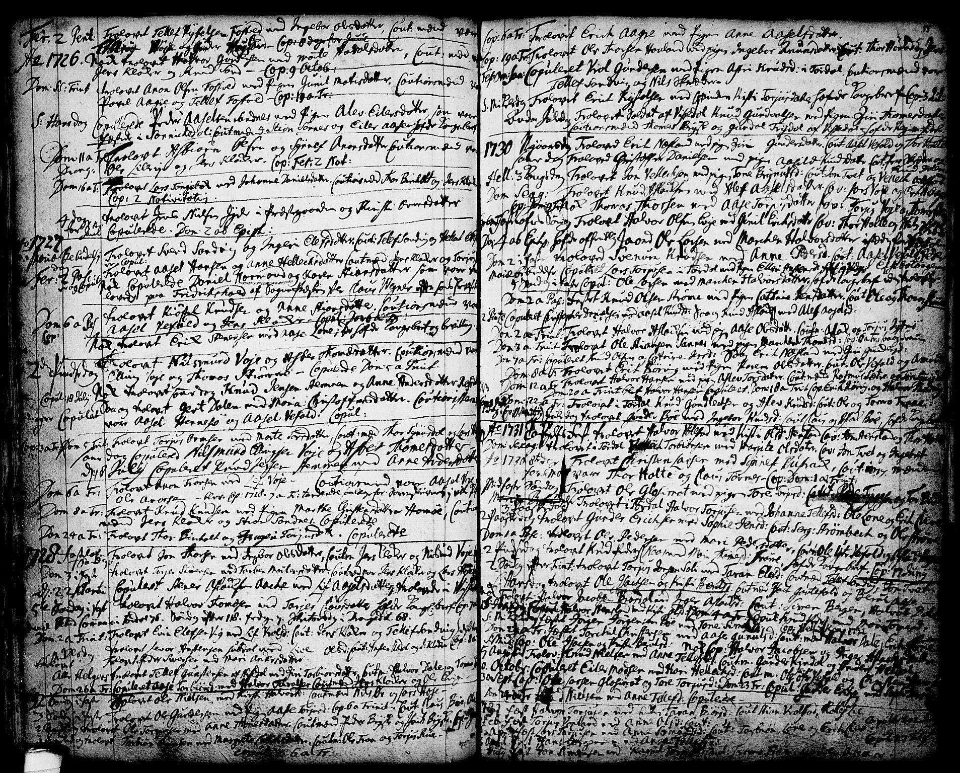 SAKO, Drangedal kirkebøker, F/Fa/L0001: Ministerialbok nr. 1, 1697-1767, s. 55